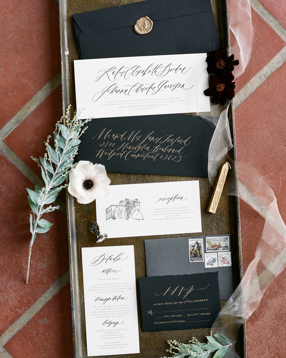 wedding stationery mixed size quite black white color palette