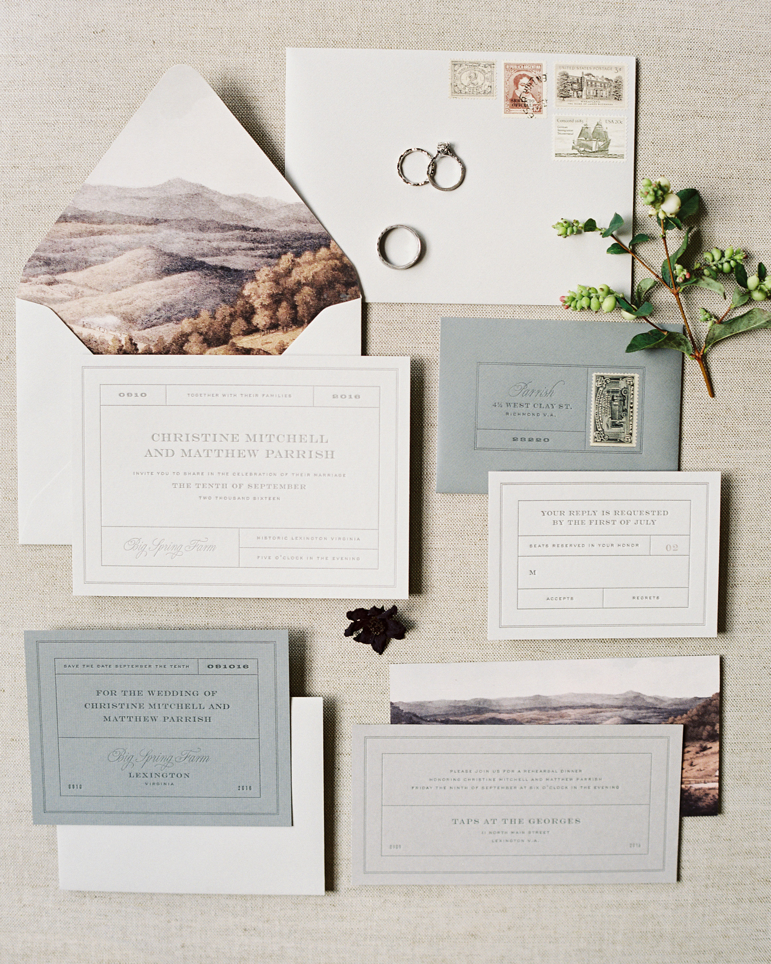 wedding stationery landscape mountain liner design