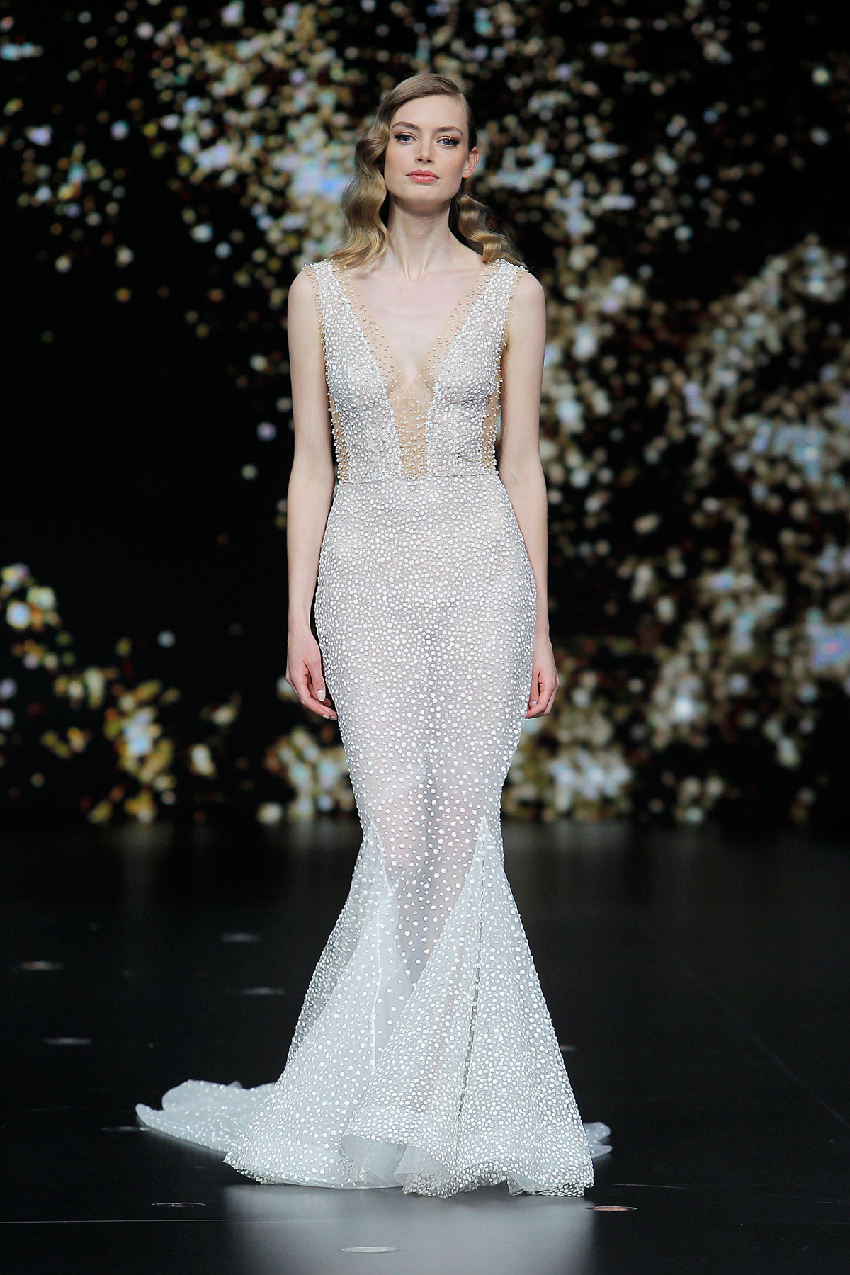 pronovias sheer beaded mermaid wedding dress spring 2020