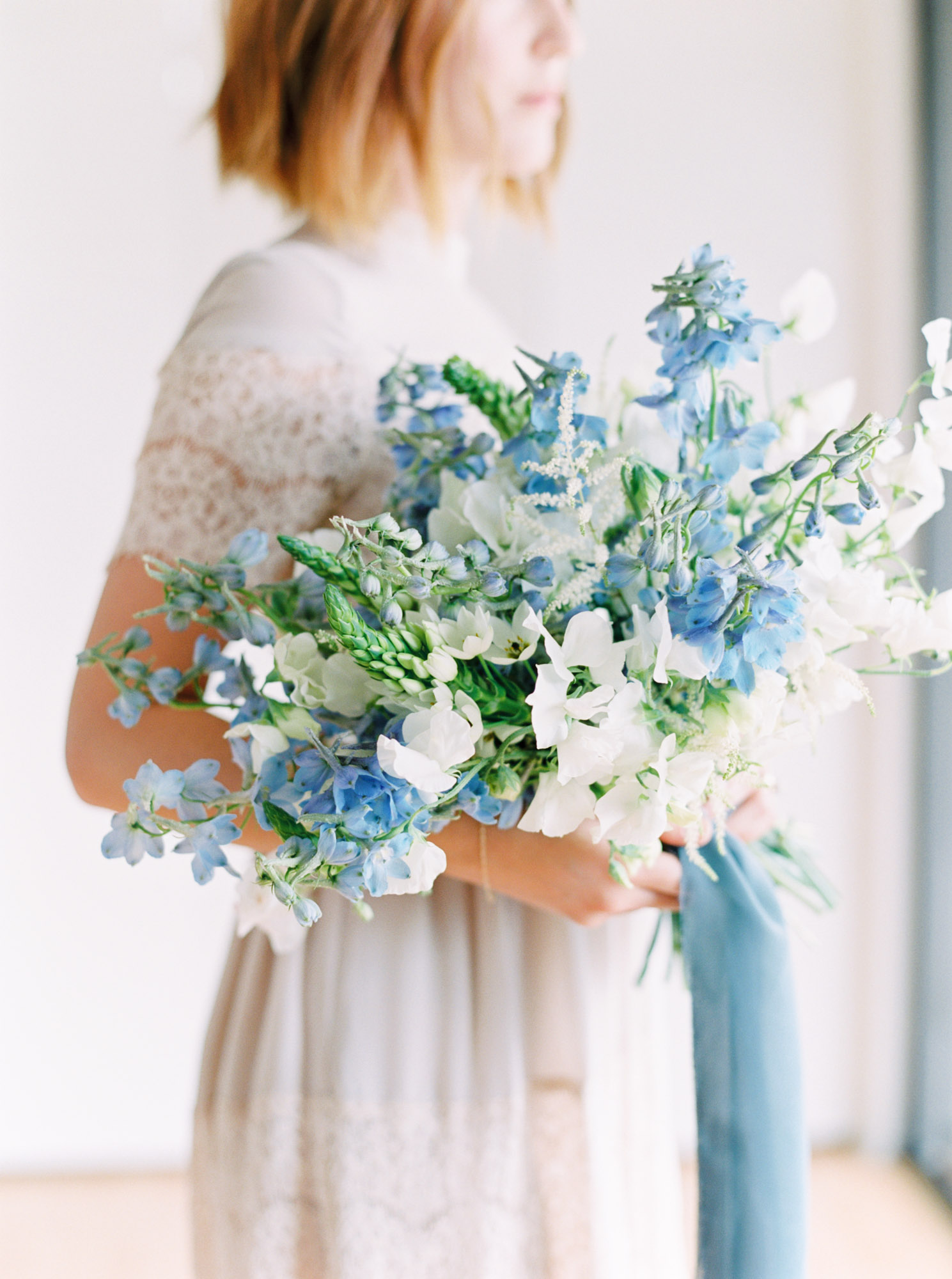 Delphinium filled wedding bouquet