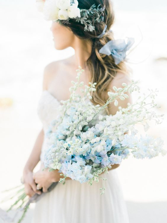 long stemmed blue and white delphinium wedding bouquet