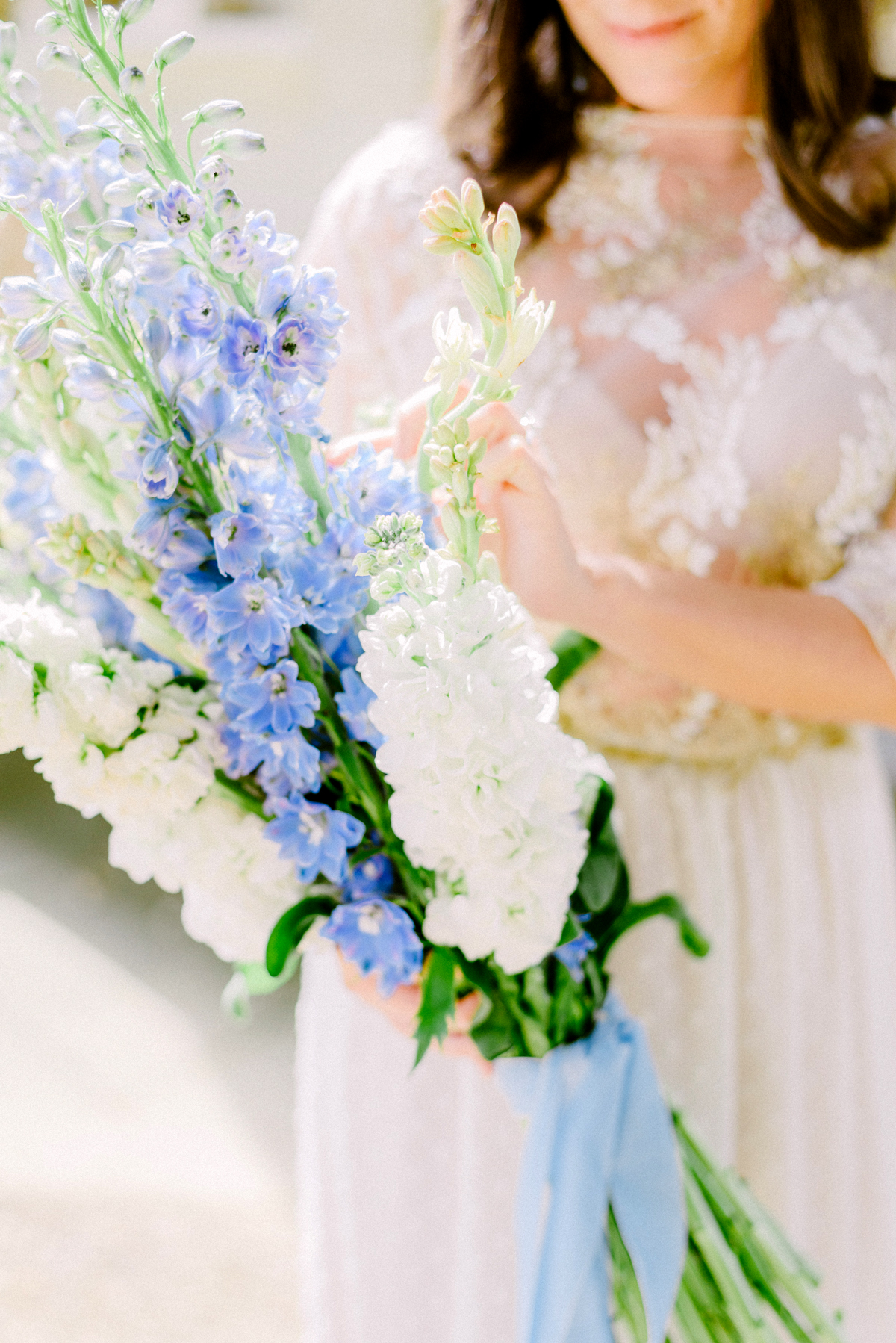 long stemmed delphinium wedding bouquet