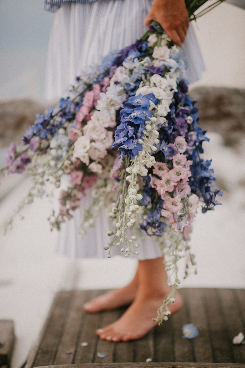 three color delphinium wedding bouquet