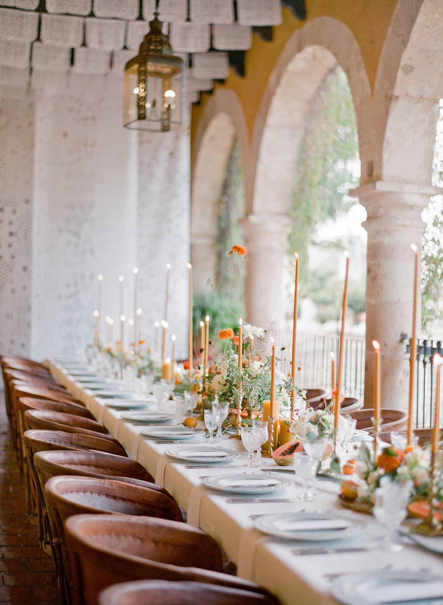leather wedding ideas chairs at reception table