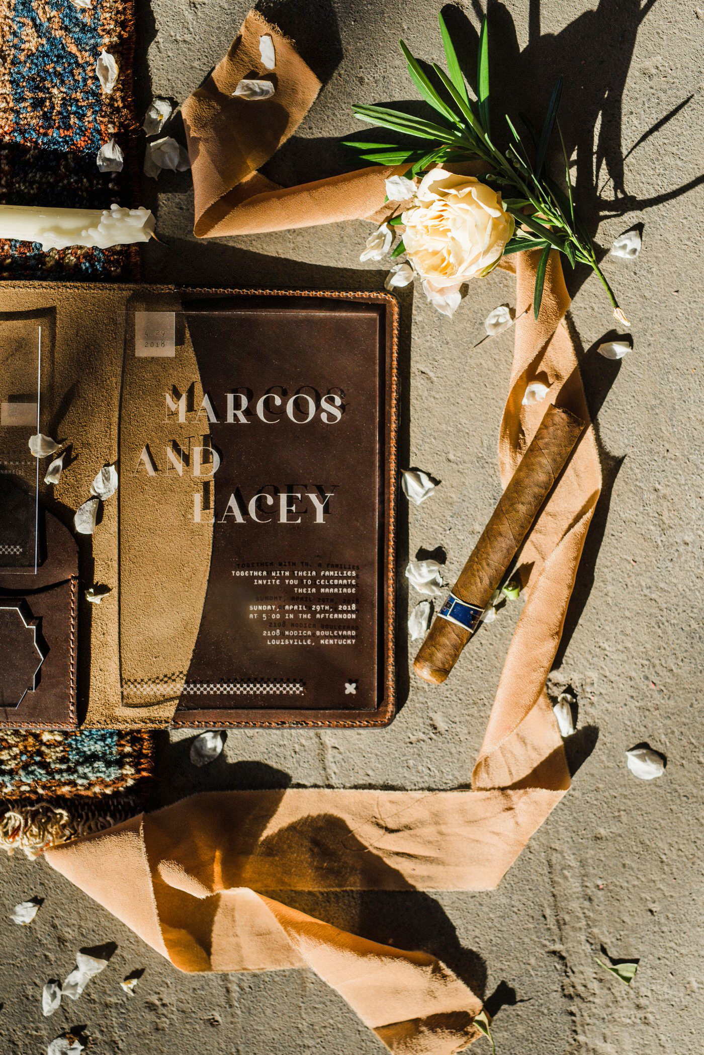 leather wedding ideas textured invitation sleeve