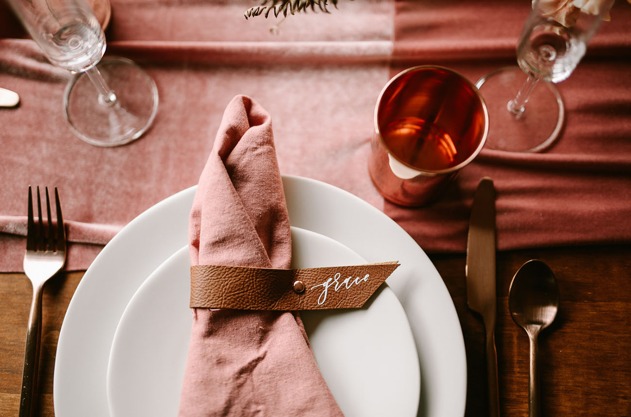 leather wedding ideas leather place card napkin tie