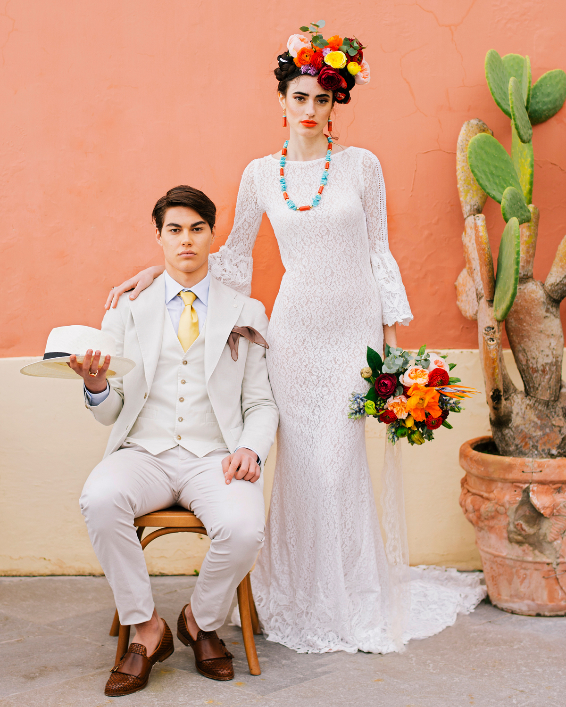 art-inspired wedding ideas bride dressed as frida kahlo