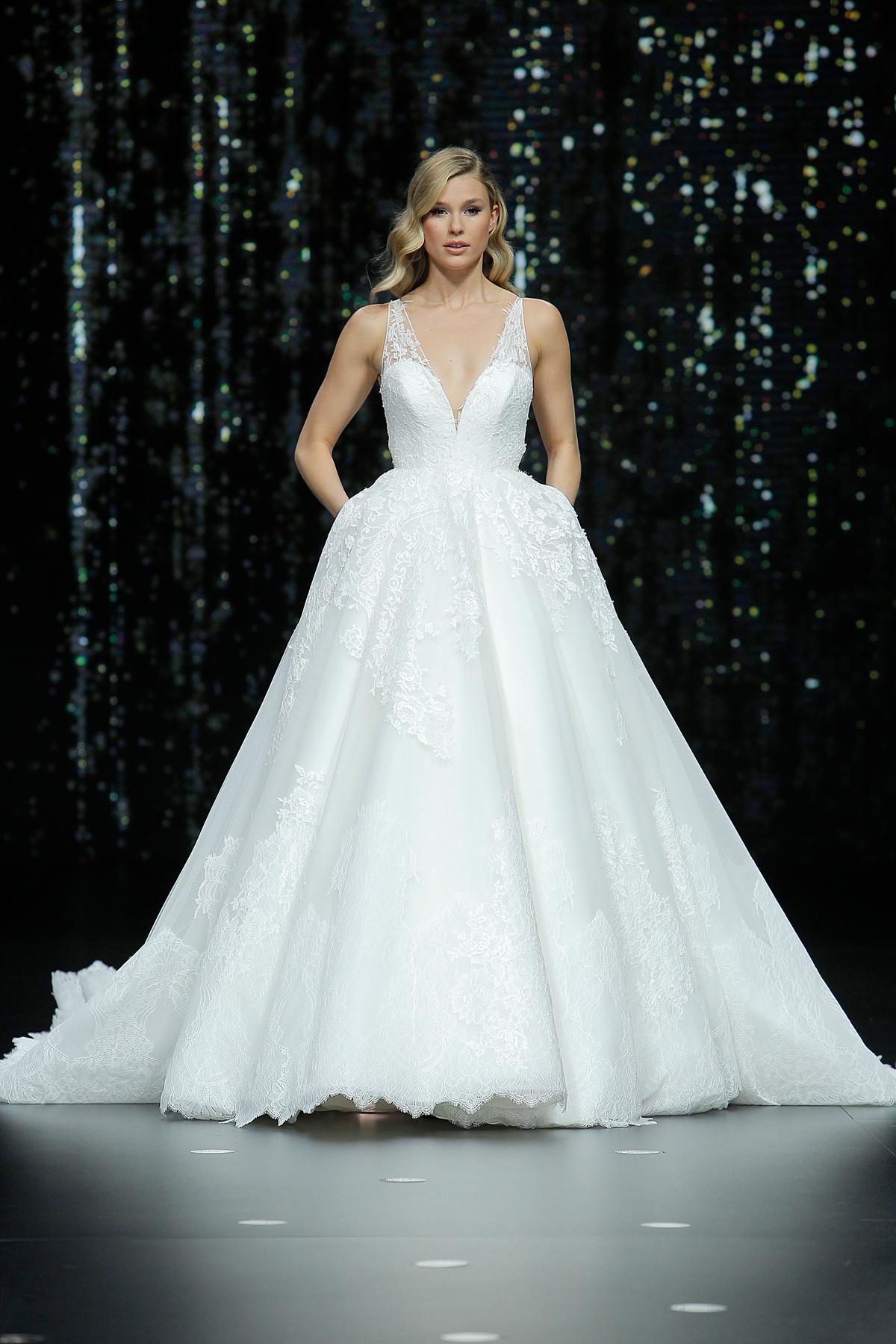 pronovias lace sleeveless ballgown wedding dress spring 2020