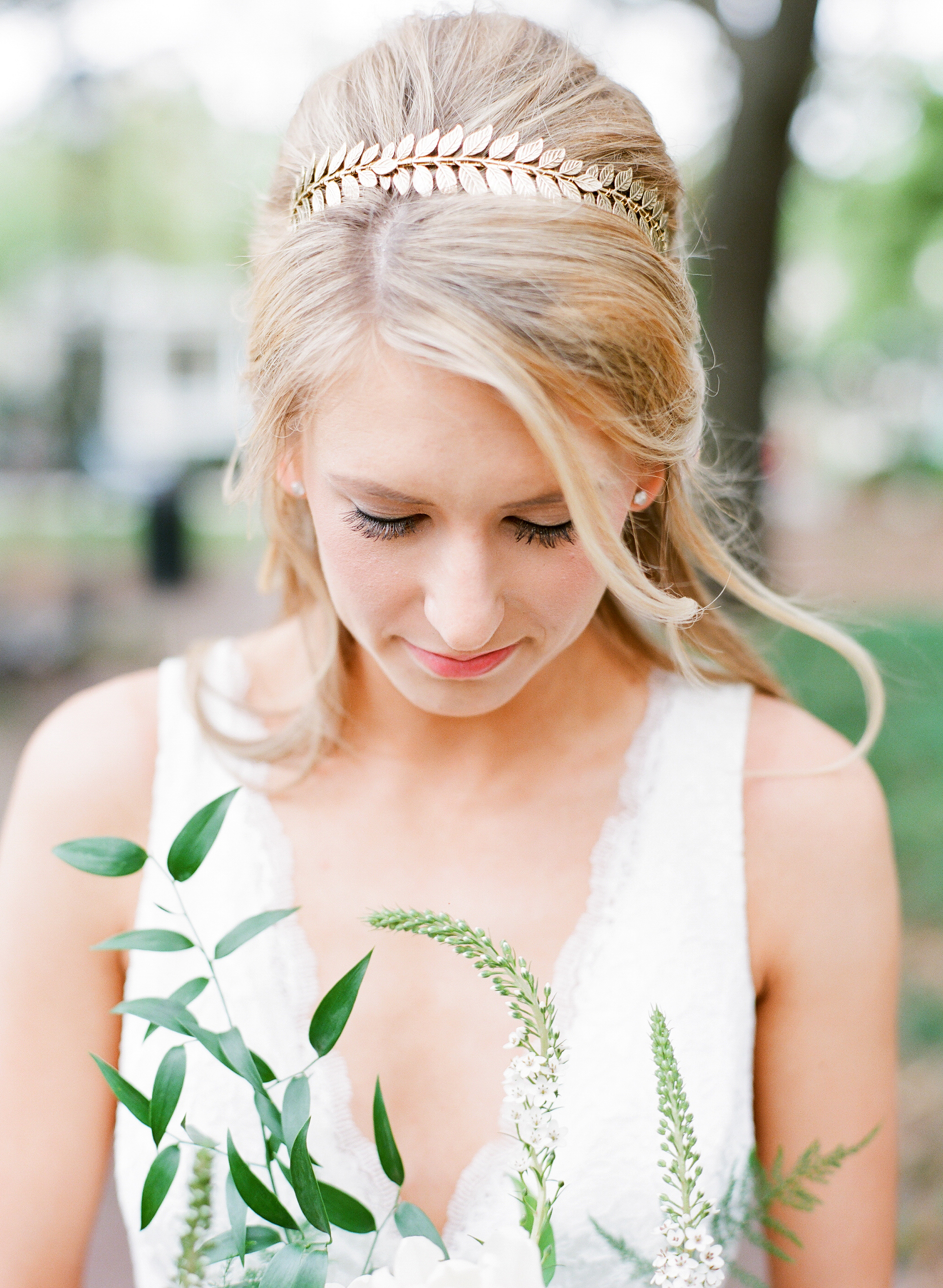 bride wearing gold leaf crown