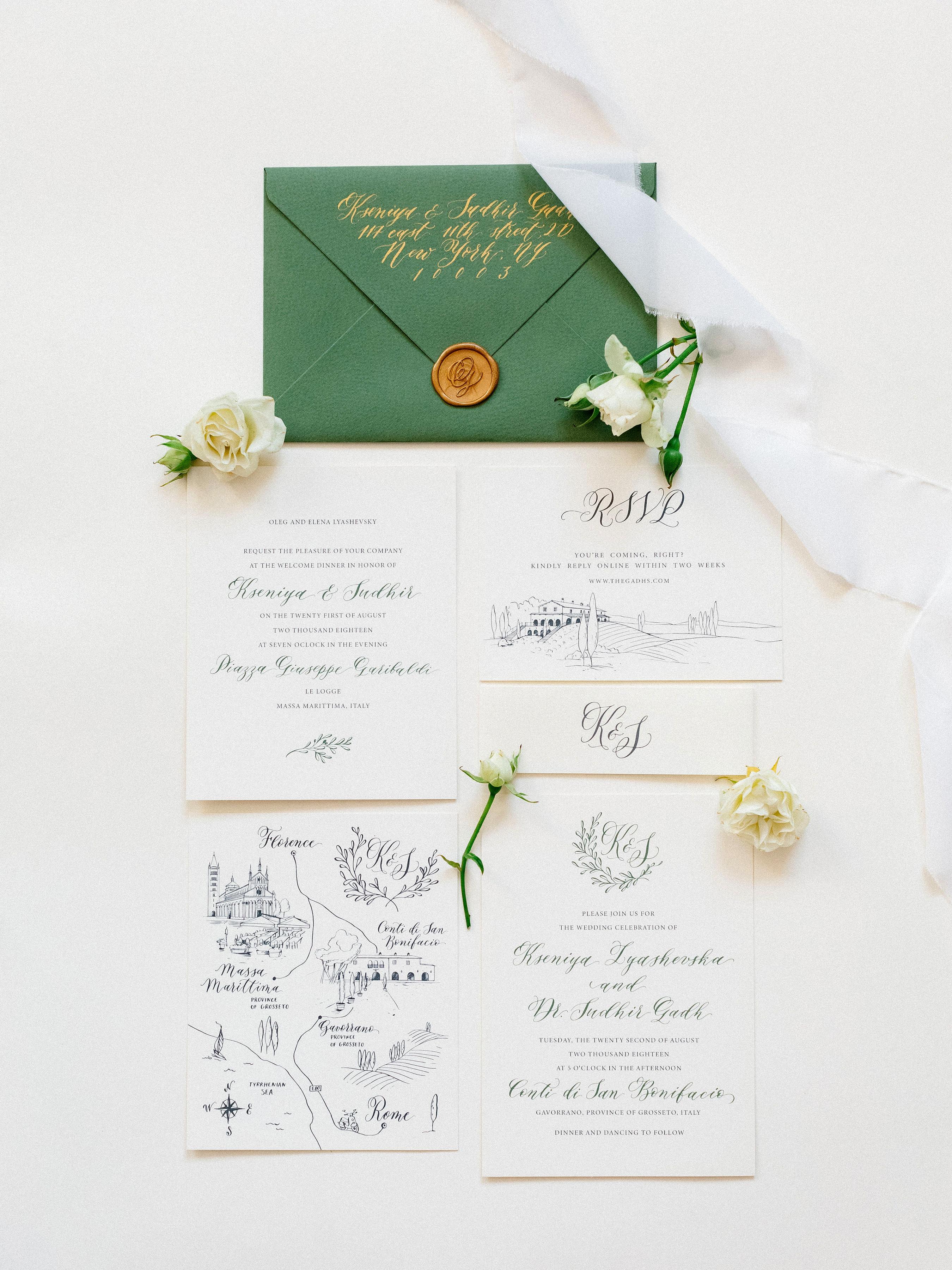 kseniya sadhir wedding invitation stationary suite