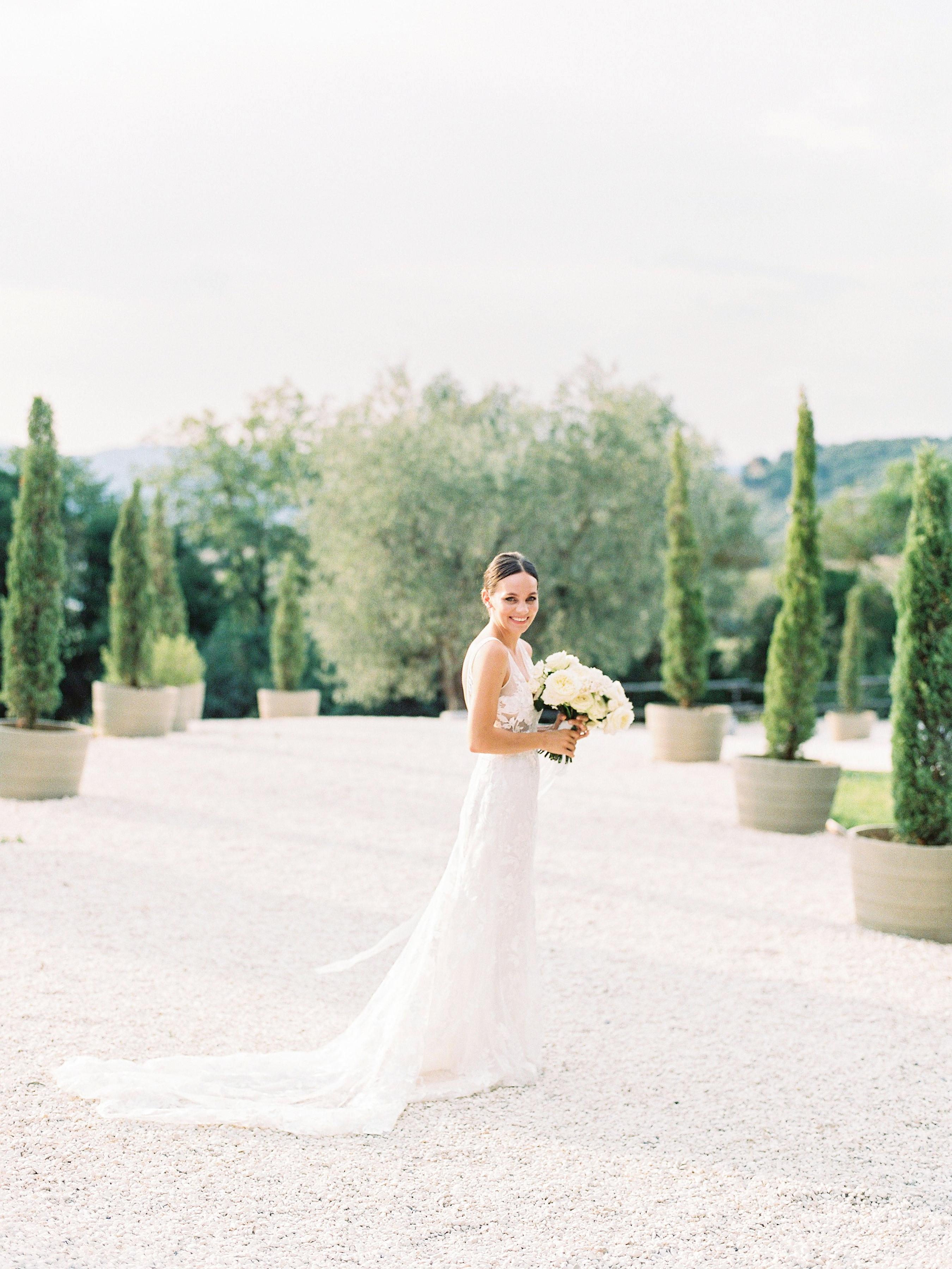 kseniya sadhir wedding italy bride outdoors