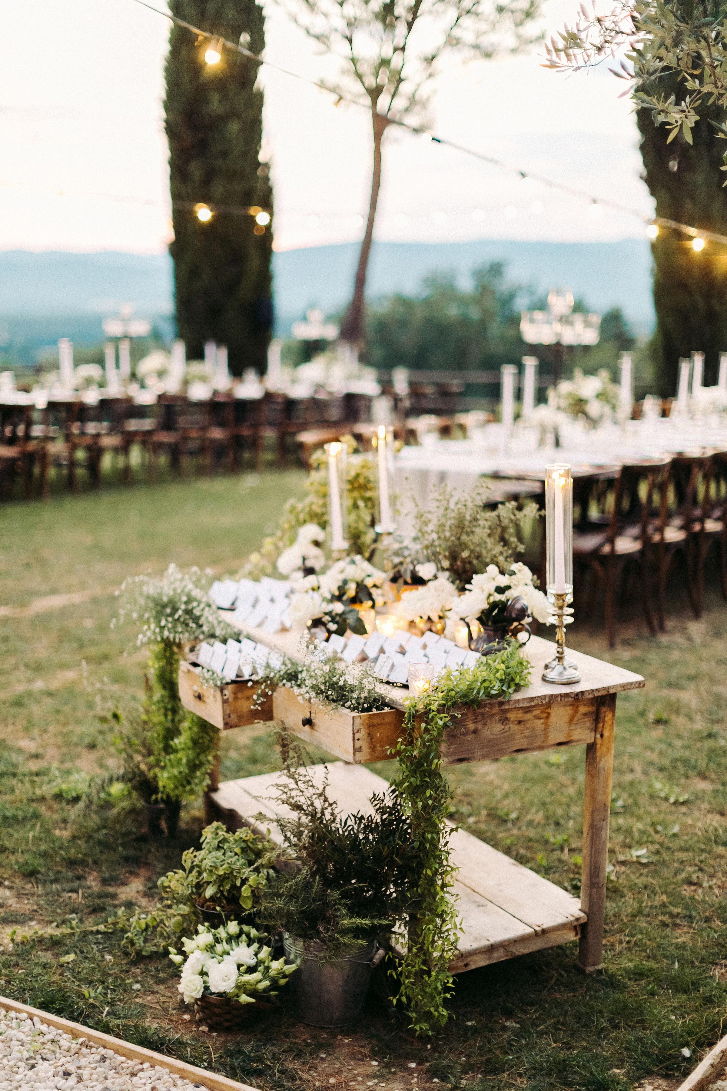 kseniya sadhir wedding escort card display table