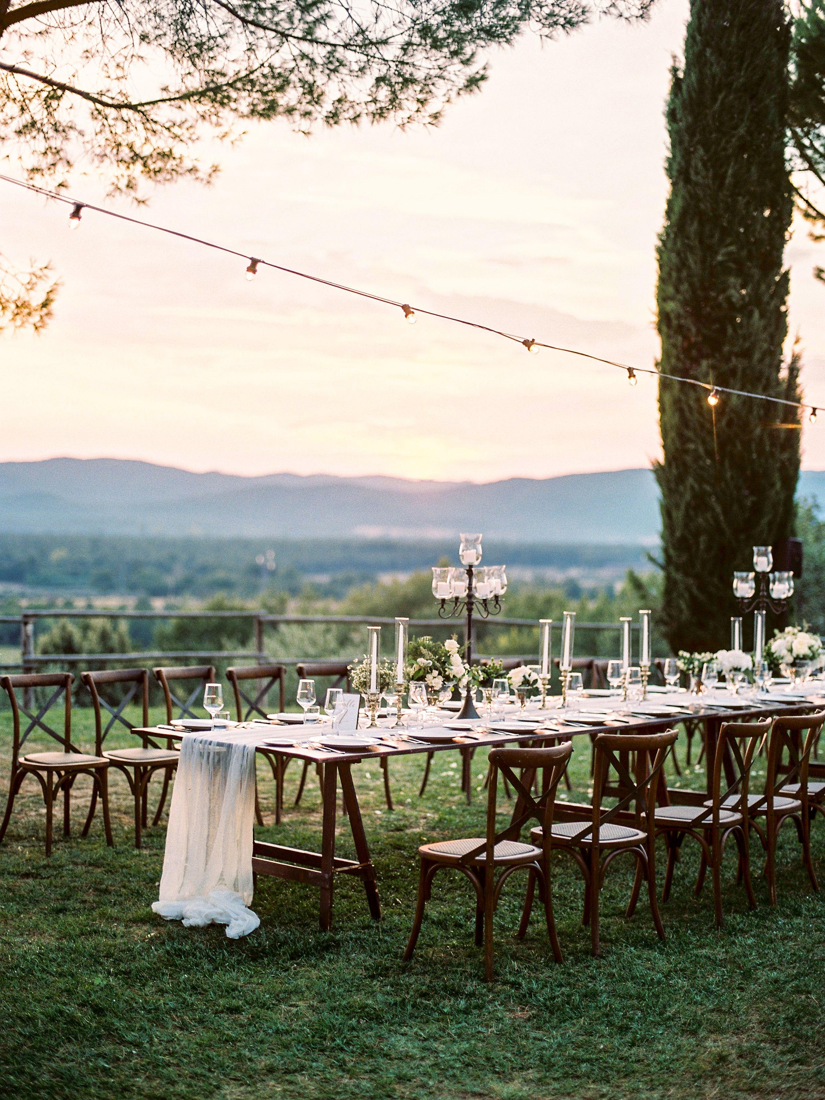 kseniya sadhir wedding reception tables outdoors