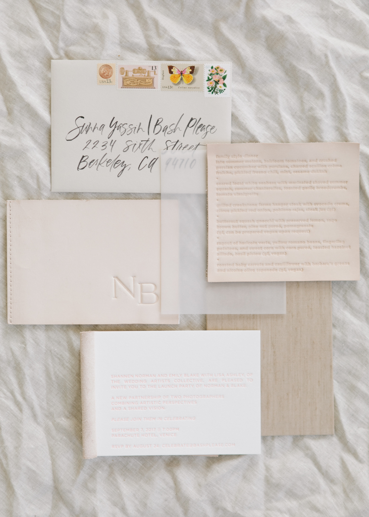 embossed leather invites