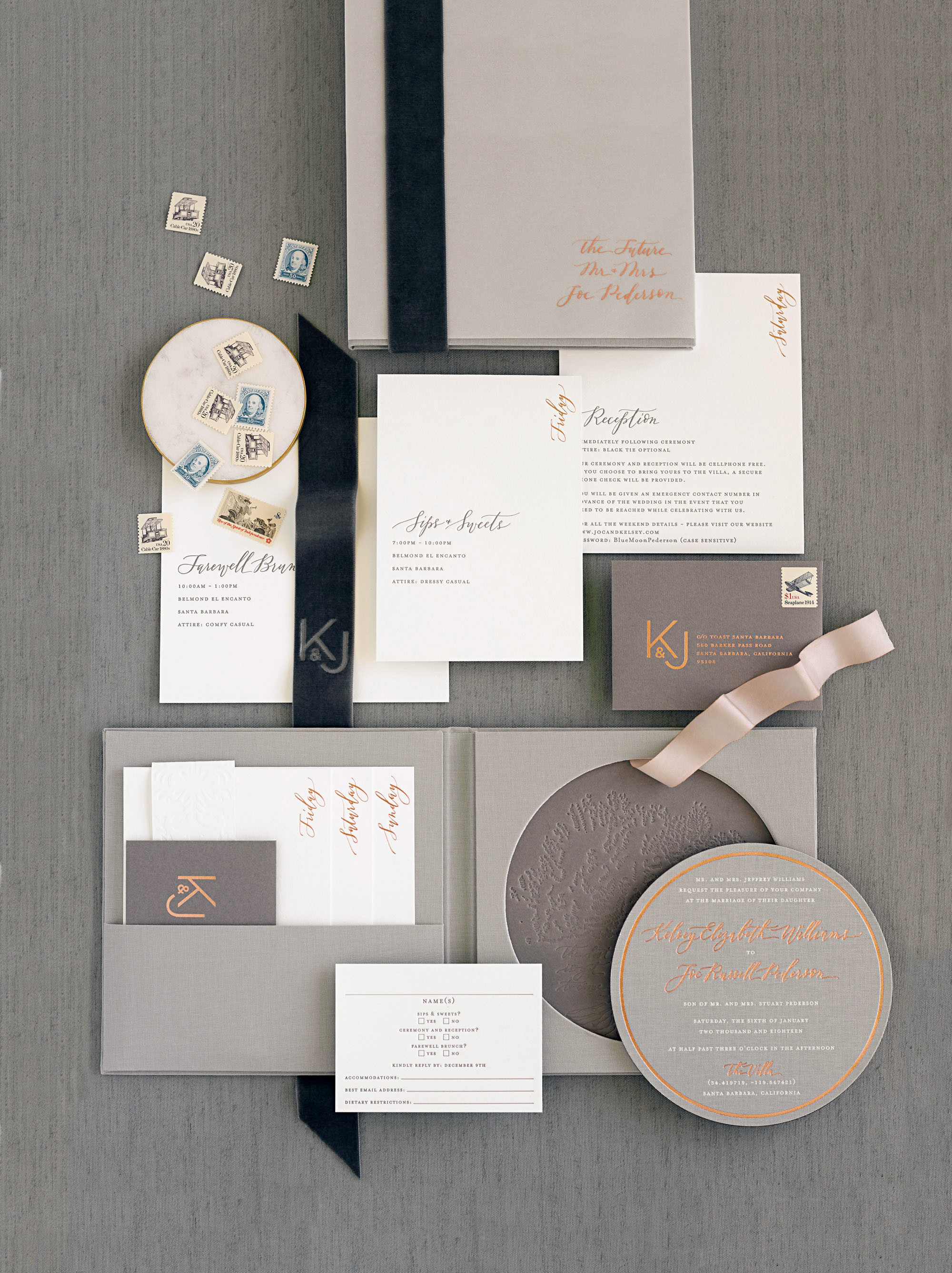 kelsey joc wedding santa barbara california invitation suite