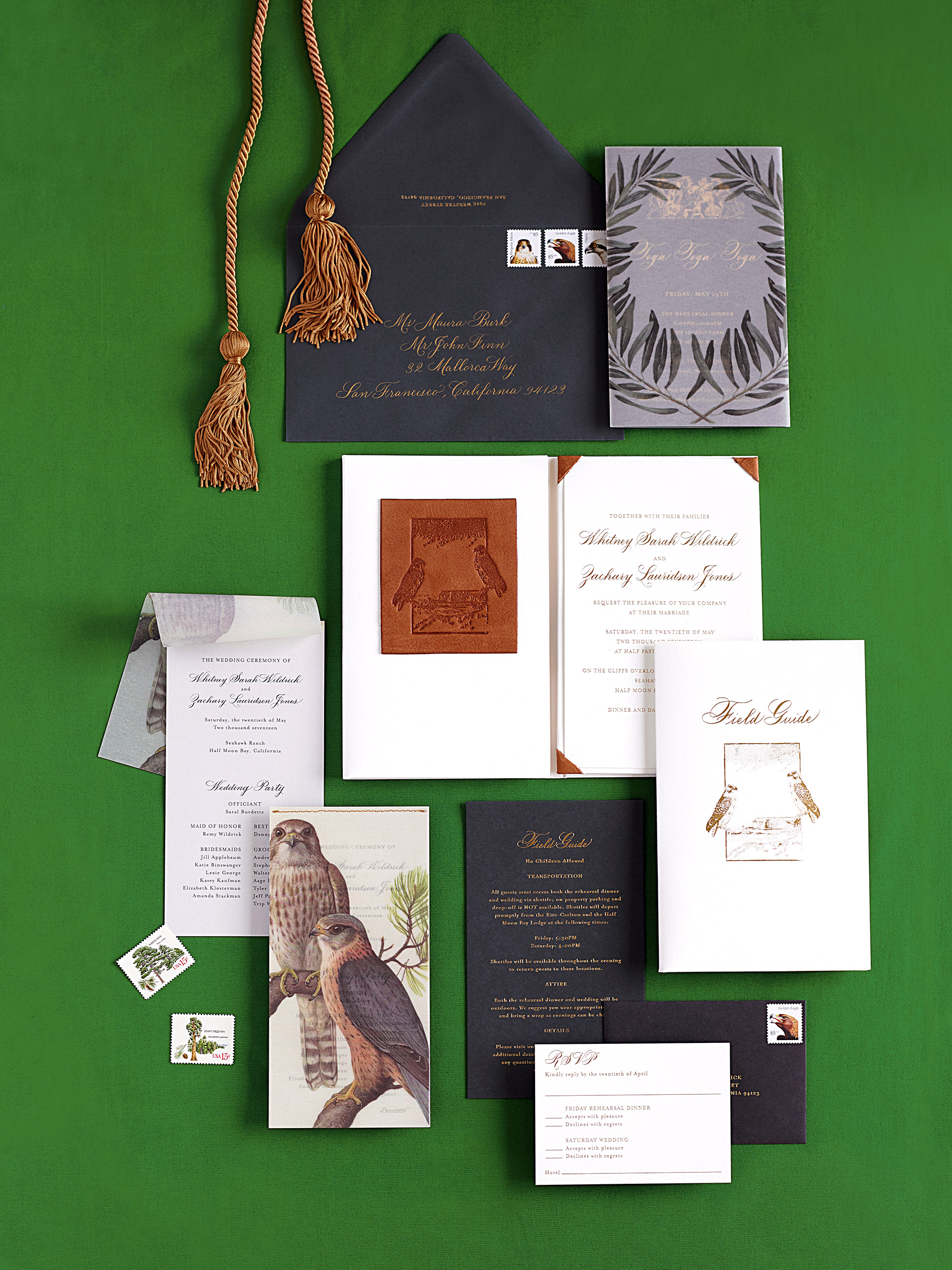 whitney zach wedding stationery suite hawk motif
