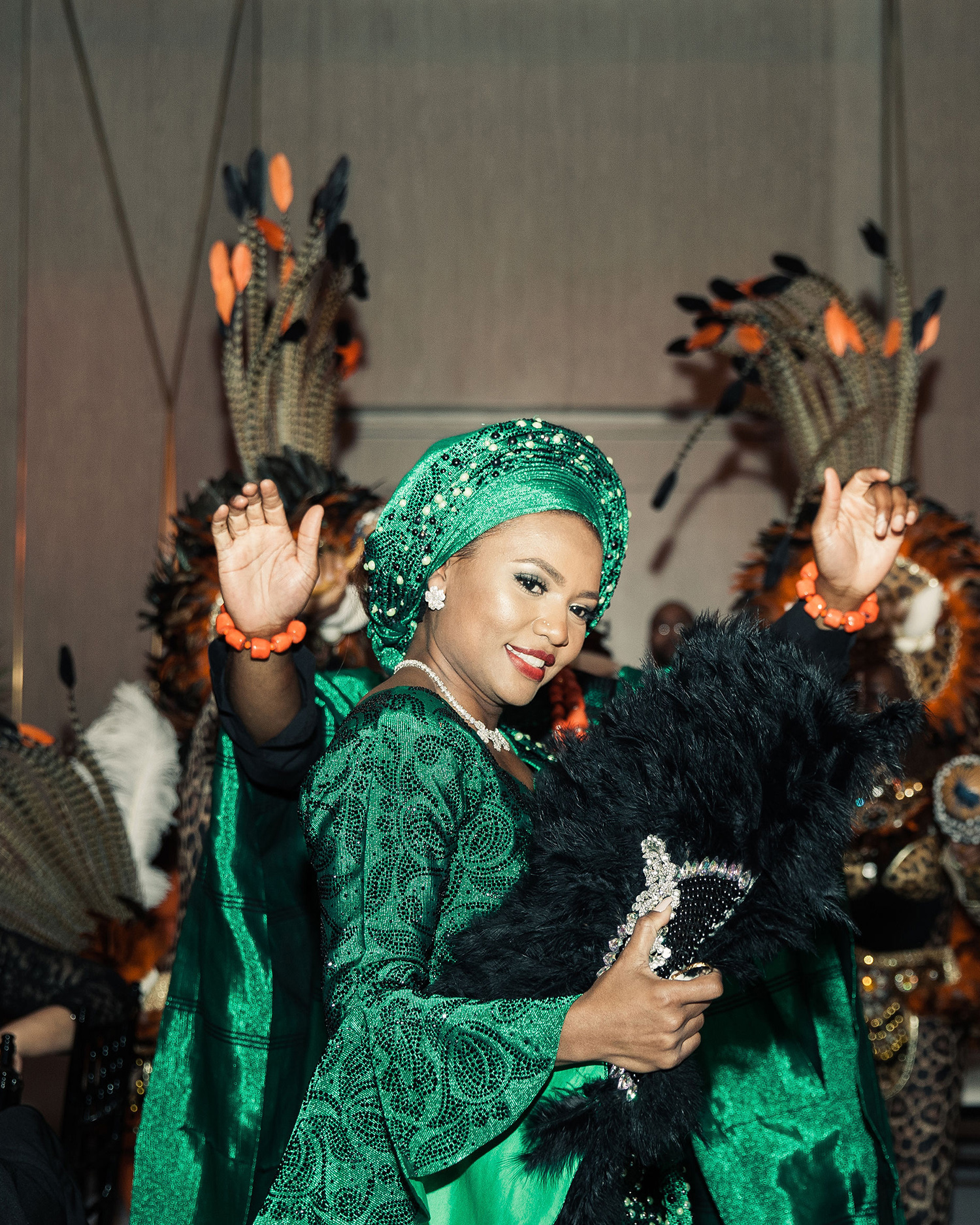 vanessa abidemi wedding bride in green outfit