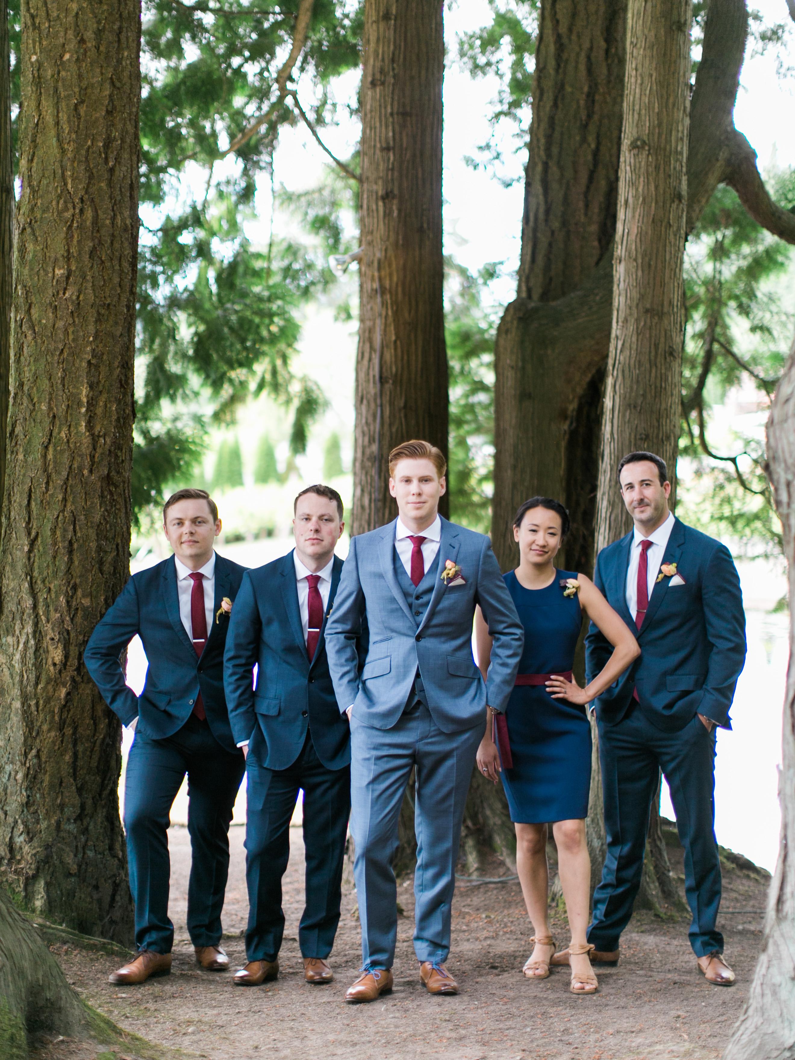 paige matt wedding groomsmen in forest