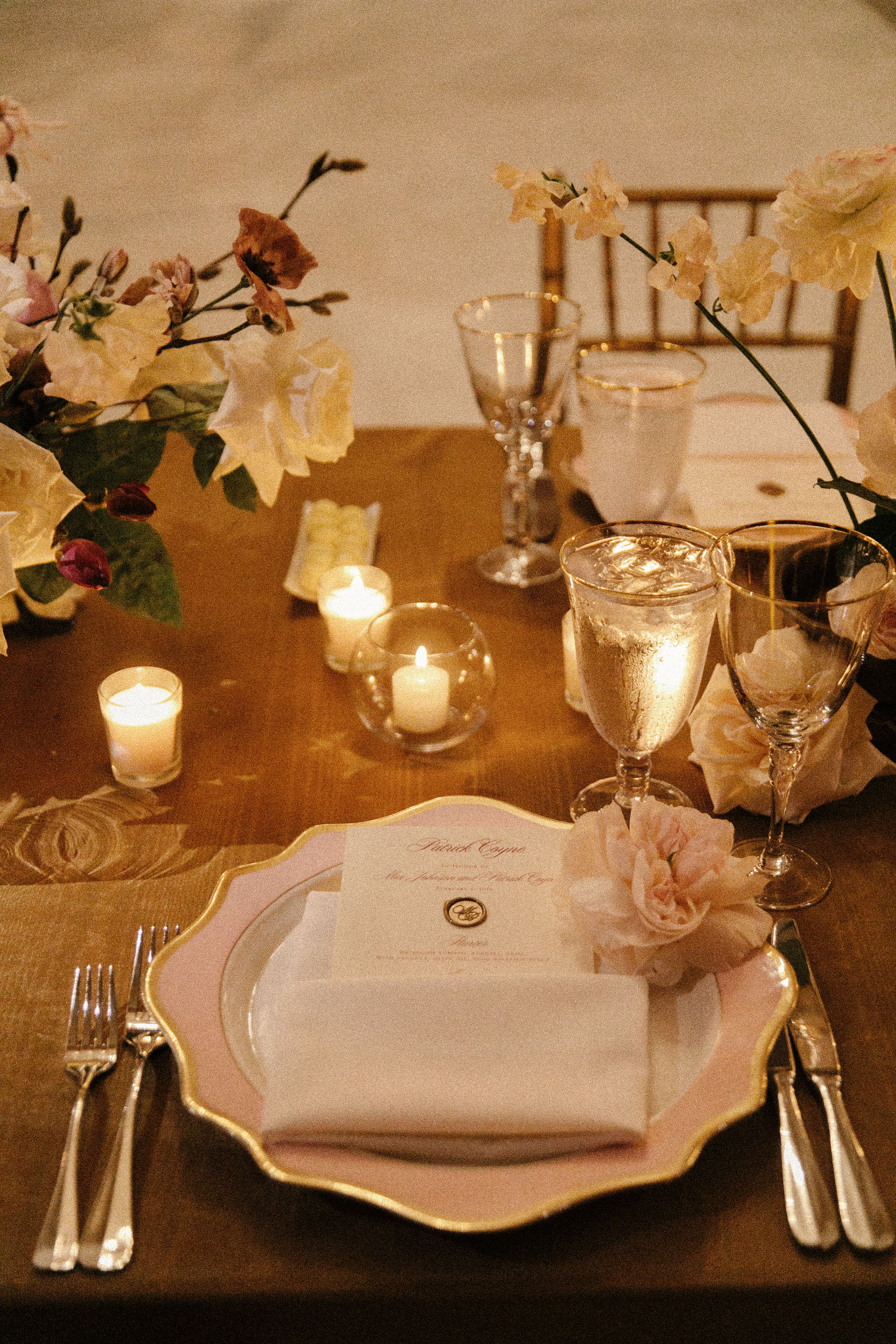 mia patrick wedding place settings with candles