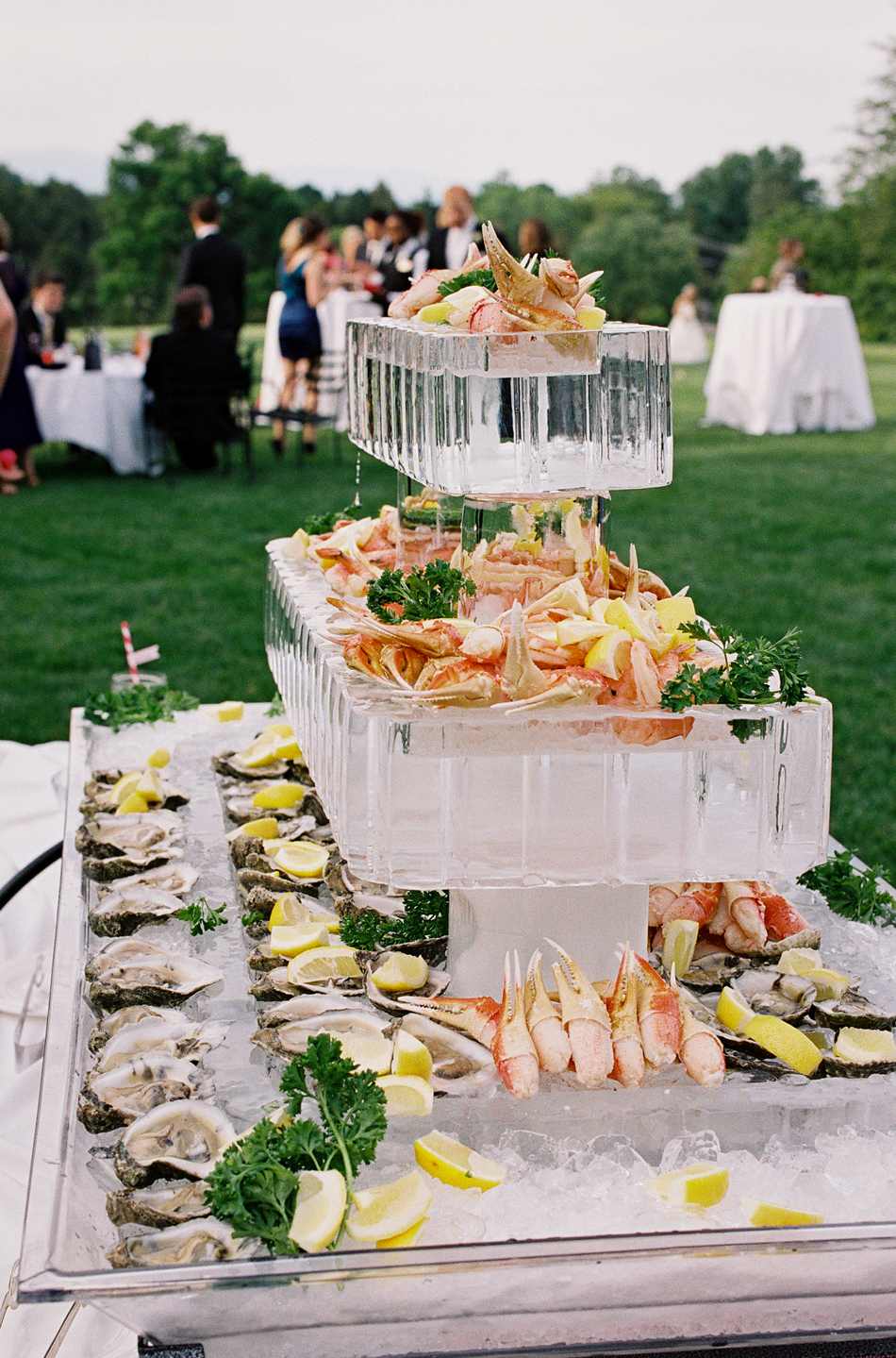 seafood filled ice sculpture