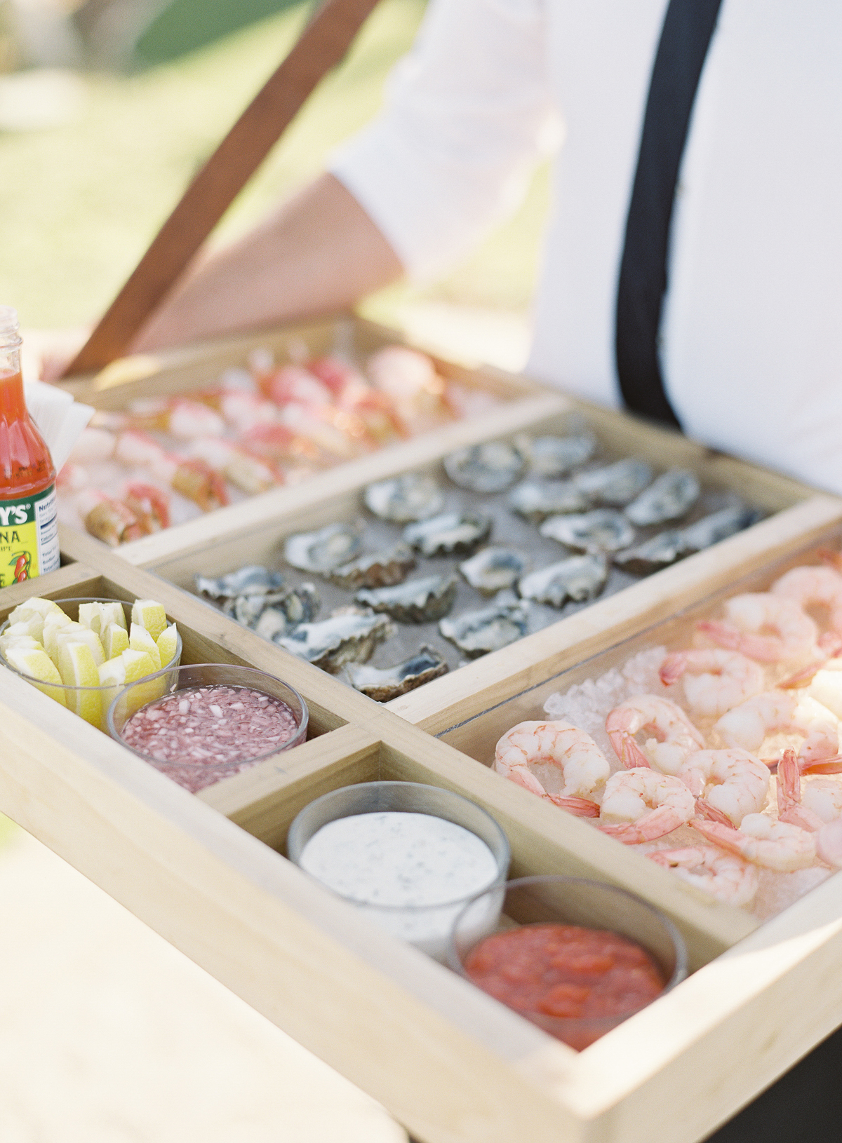 seafood and various dips serving tray