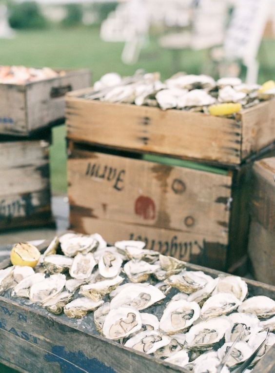seafood filled wooden crates