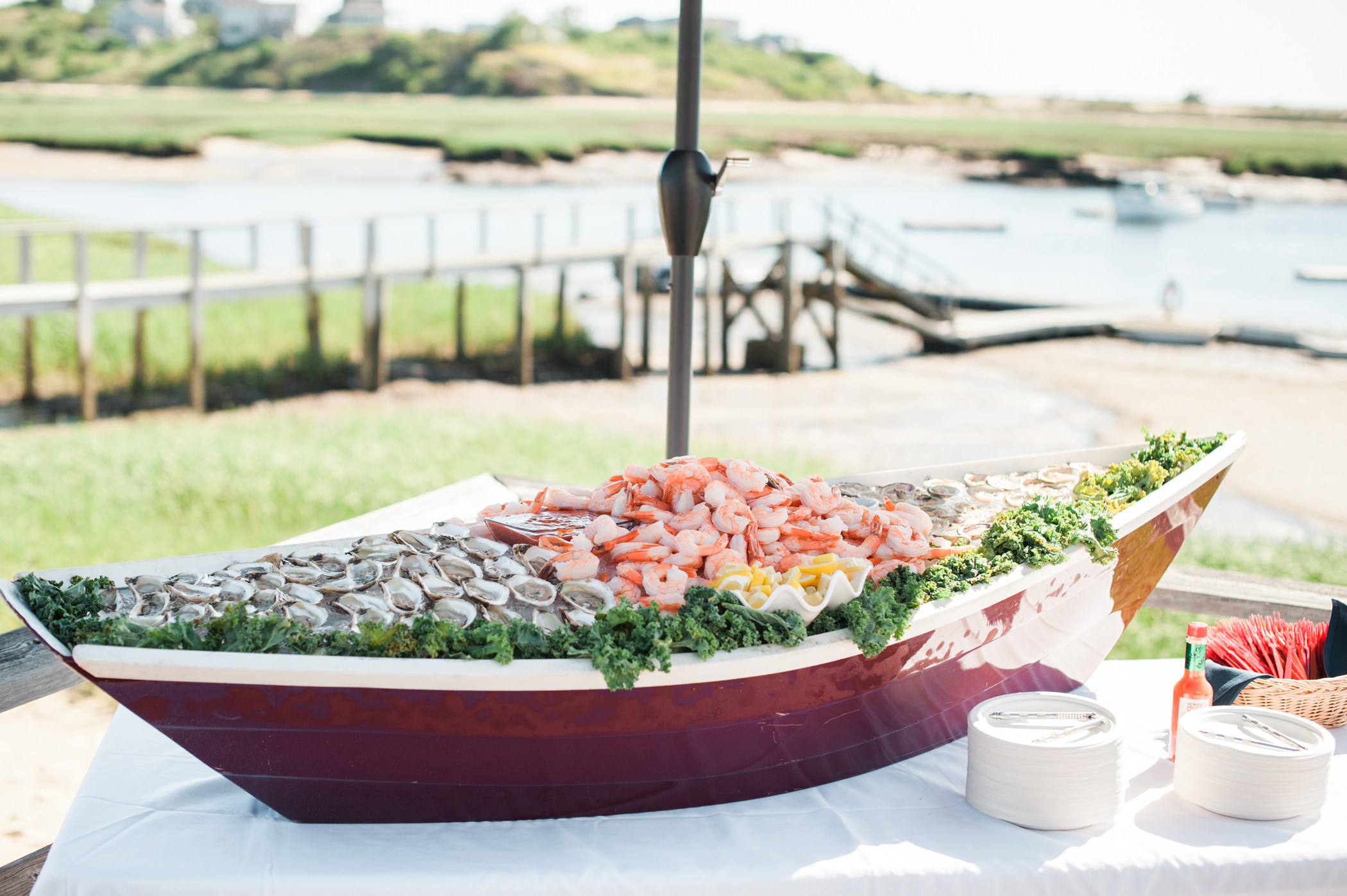 boat shaped seafood filled serving bar