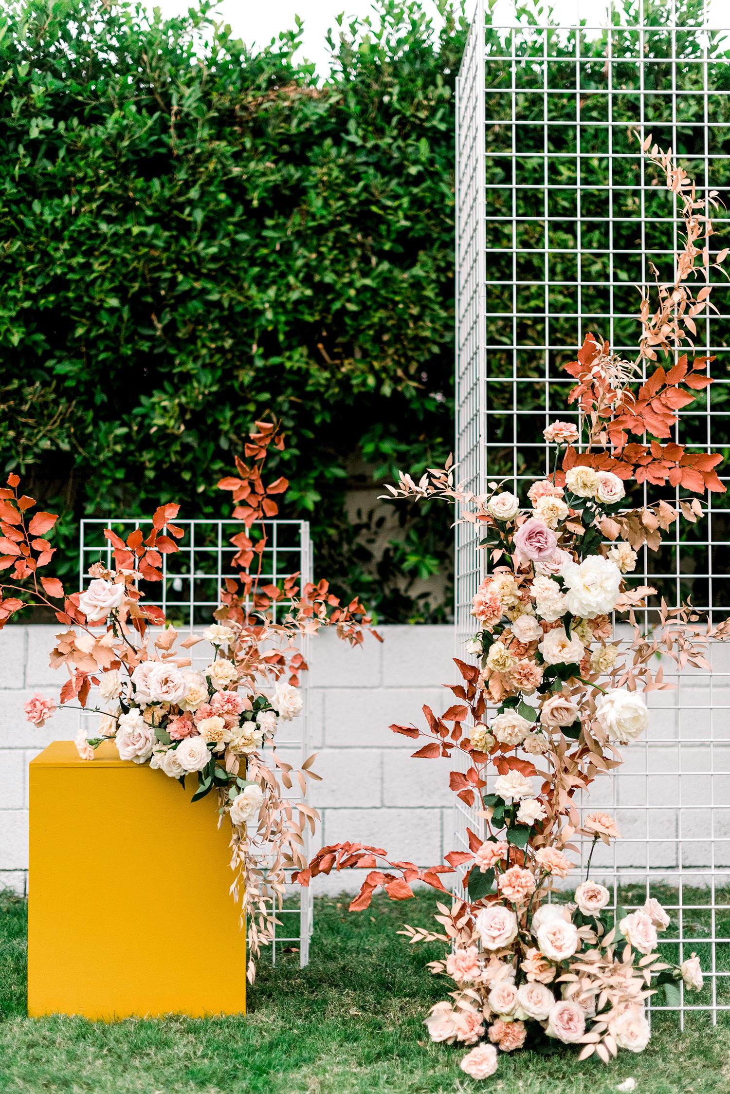 hanna will wedding outdoor ceremony backdrop