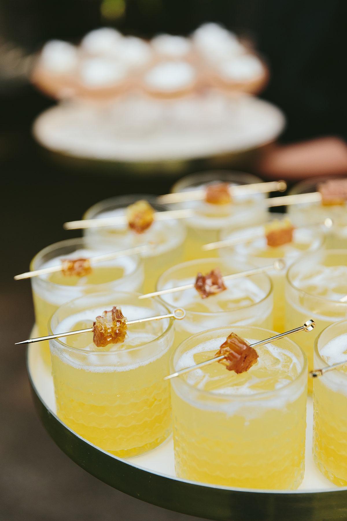 sarah daniel wedding tray of cocktails