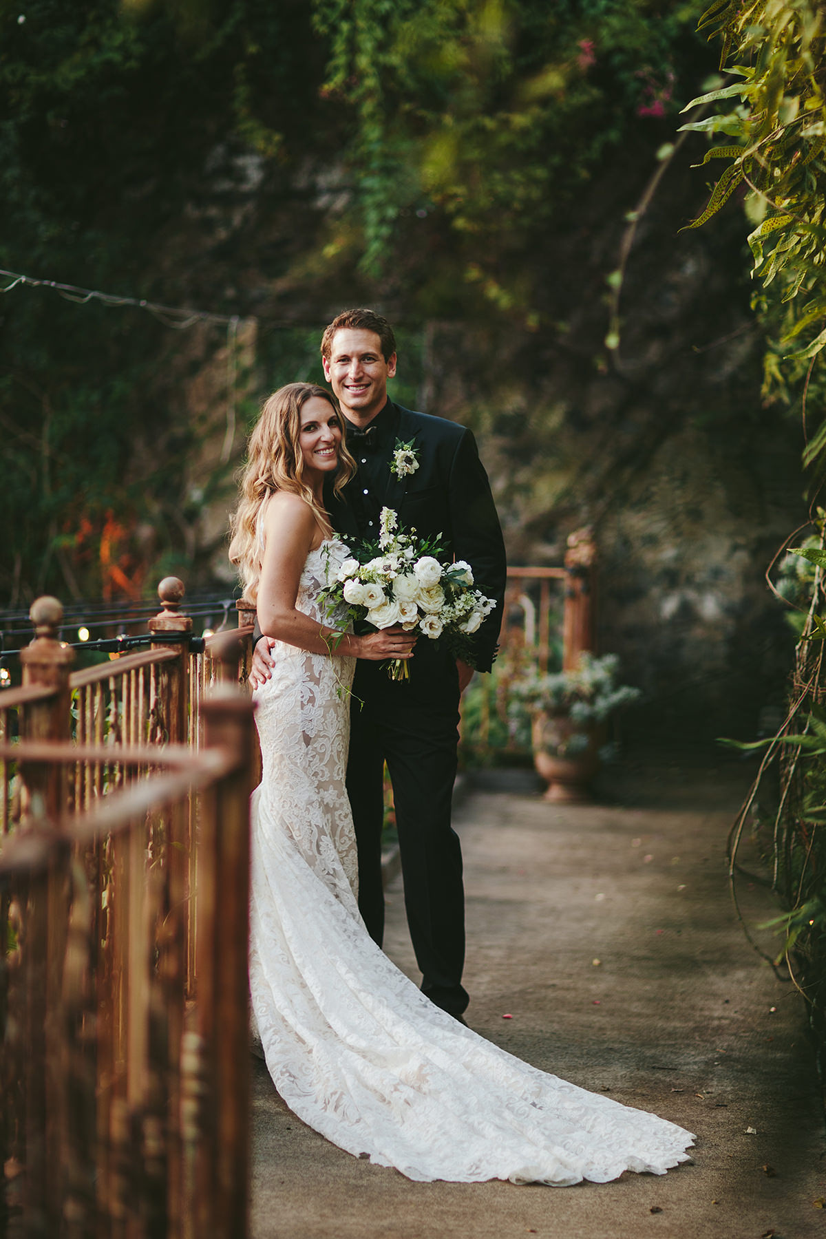 sarah daniel wedding bride and groom in wooded area