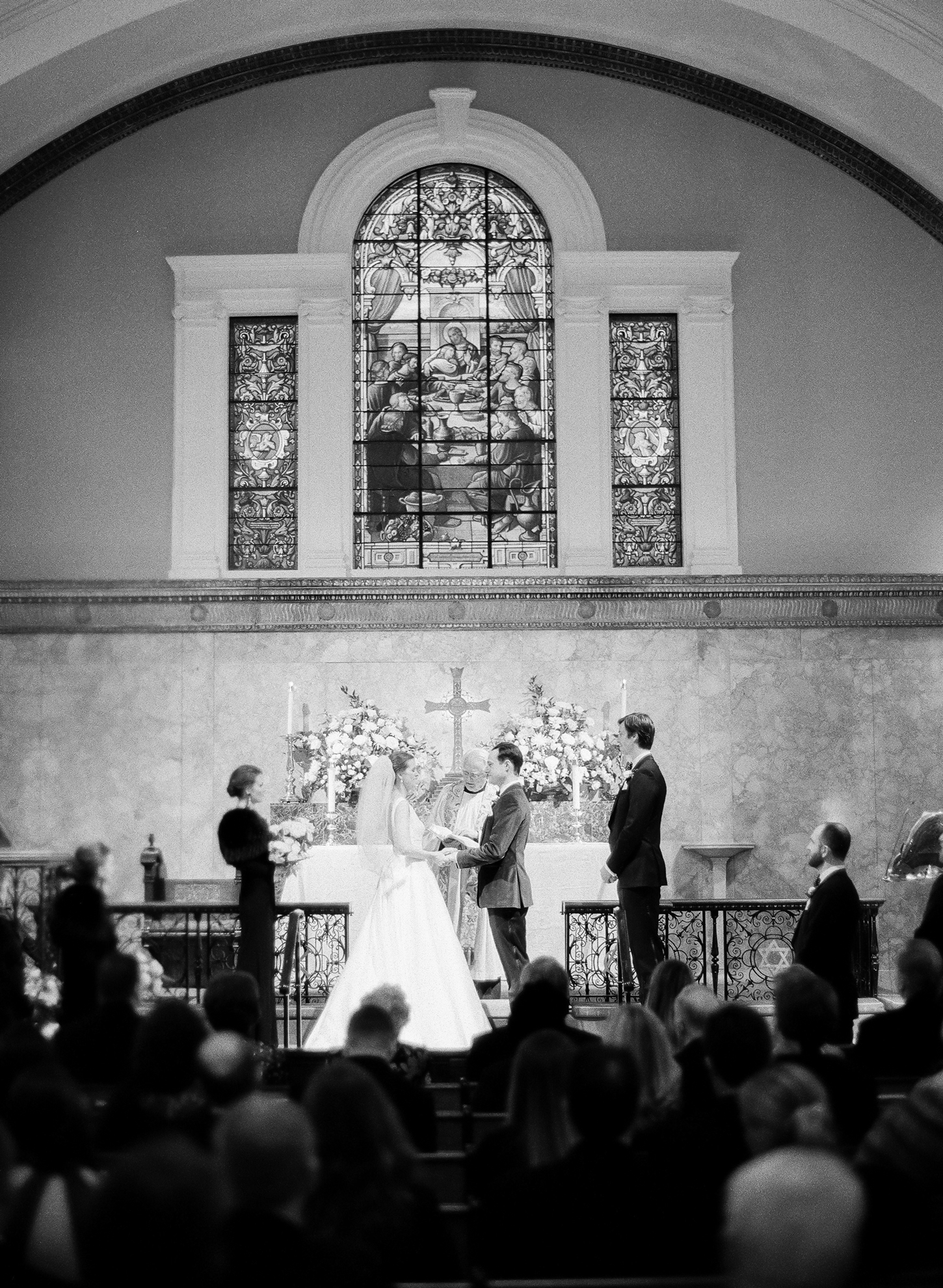 bride and groom at St. John's Church wedding ceremony