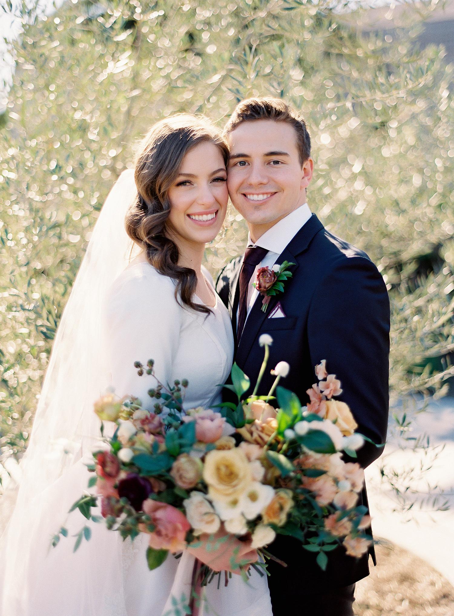 brooke dalton wedding couple in garden