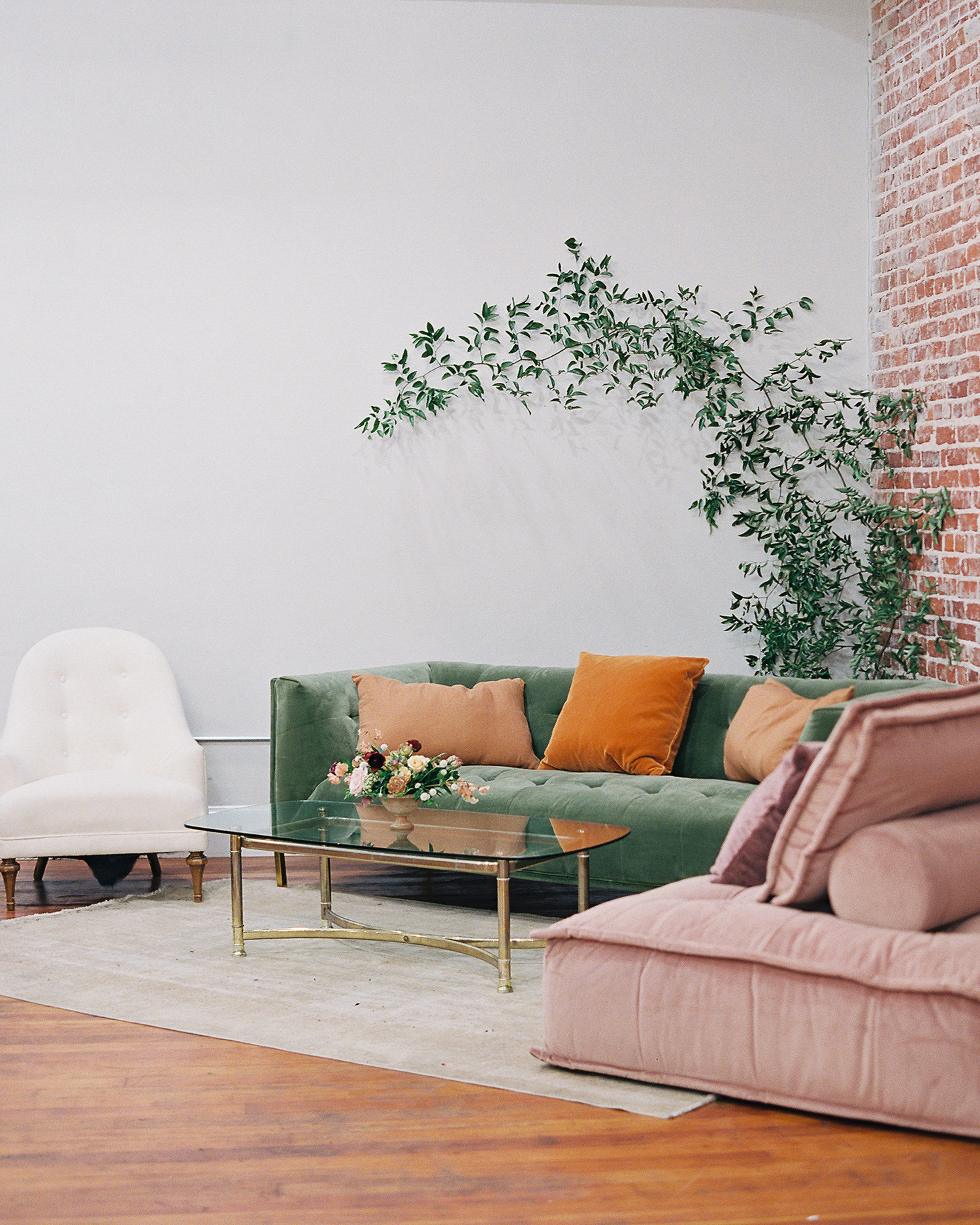 brooke dalton wedding lounge couches and plant
