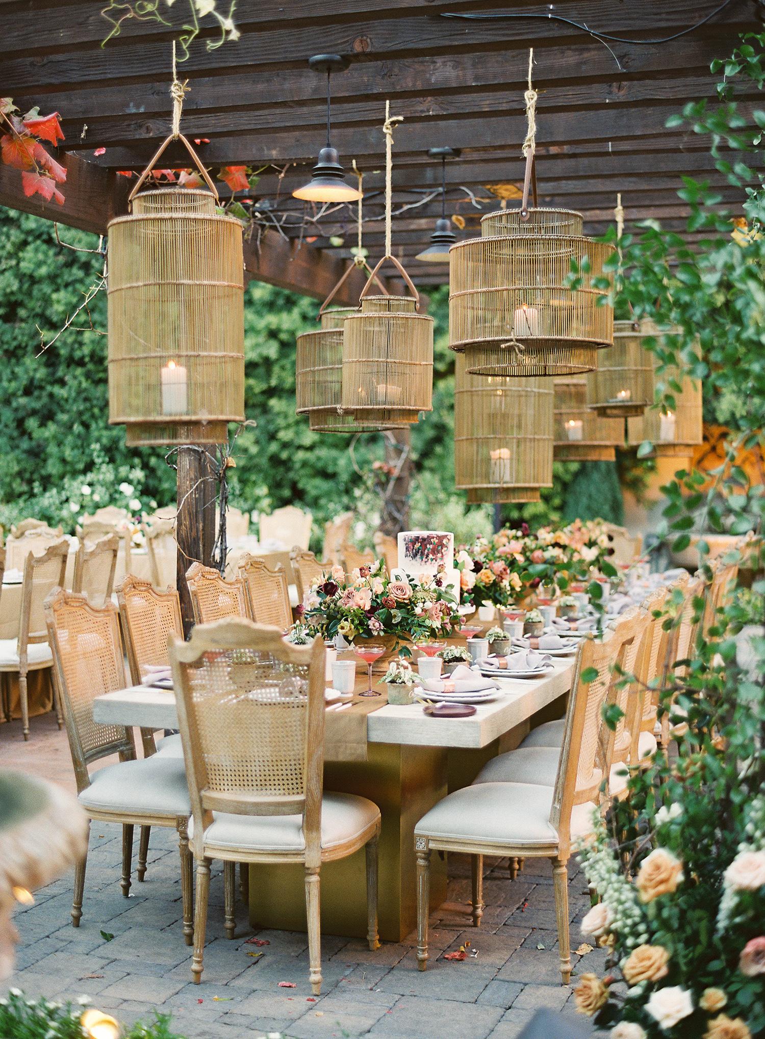 brooke dalton wedding reception table hanging lanterns