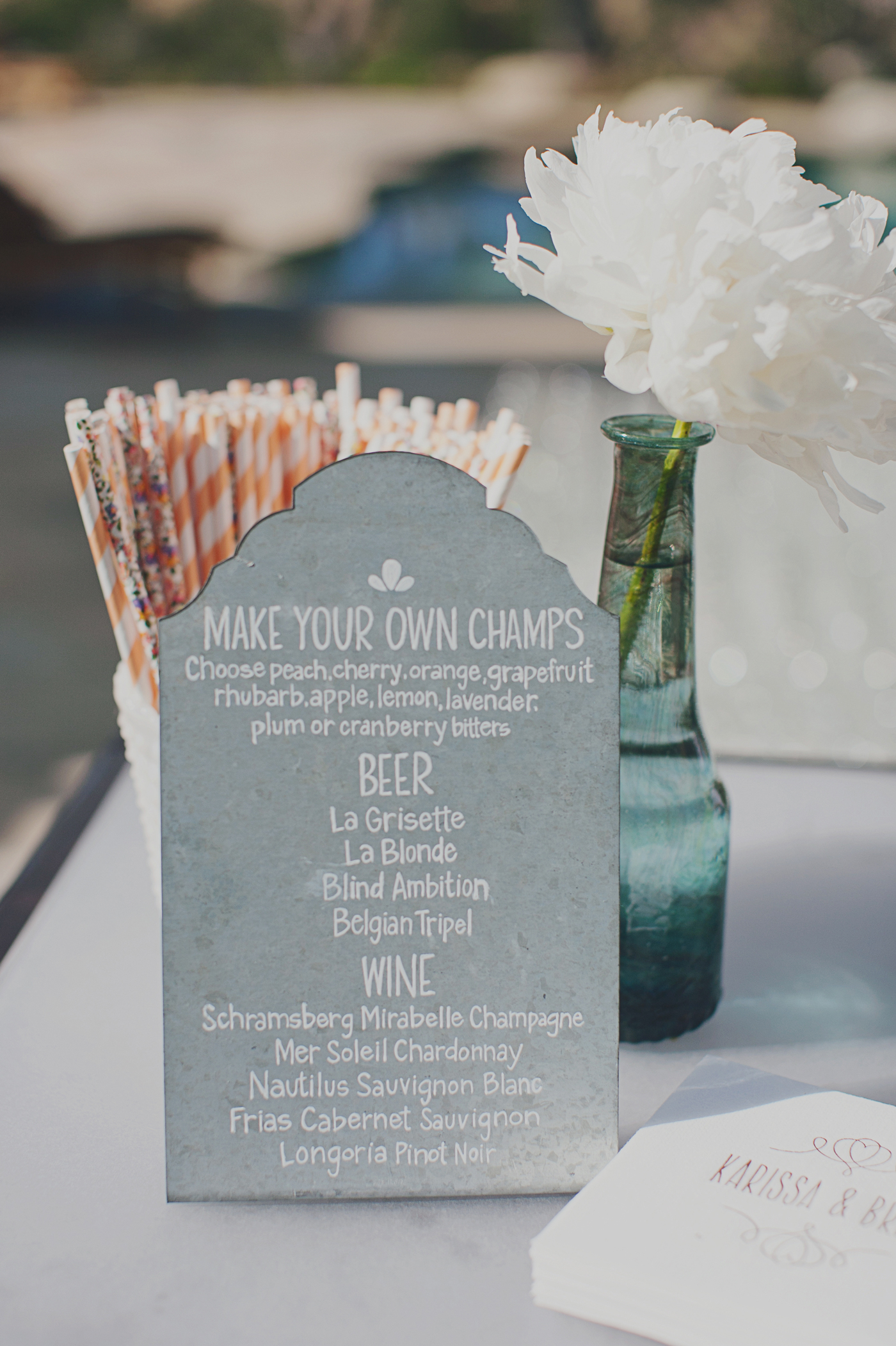 concrete drink menu on gray countertop