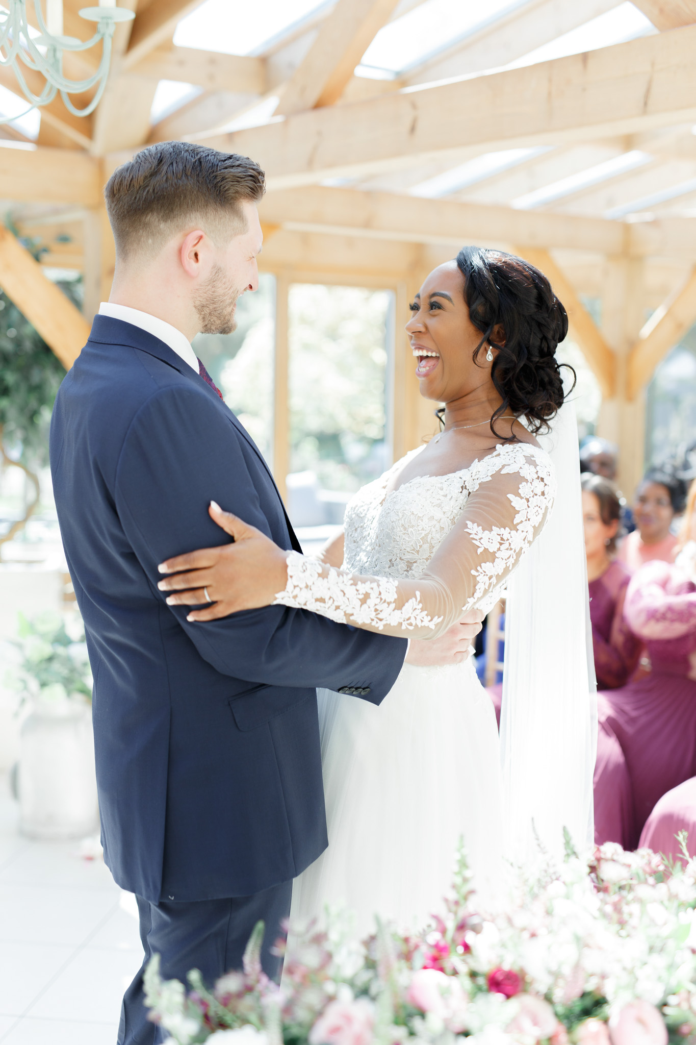 ryan thomas wedding ceremony bride and groom smiling