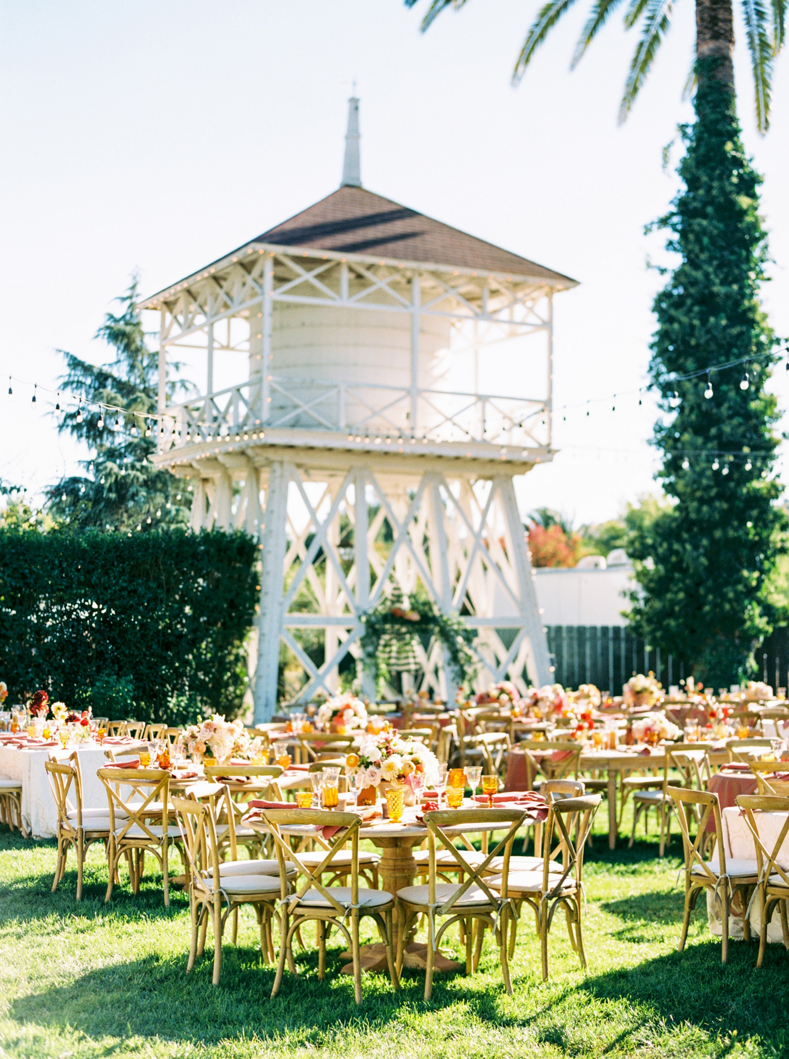 outdoor wedding reception space water tower