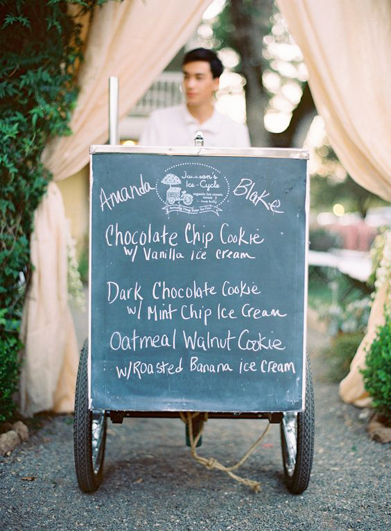 dessert menu ideas ice cream cart chalkboard
