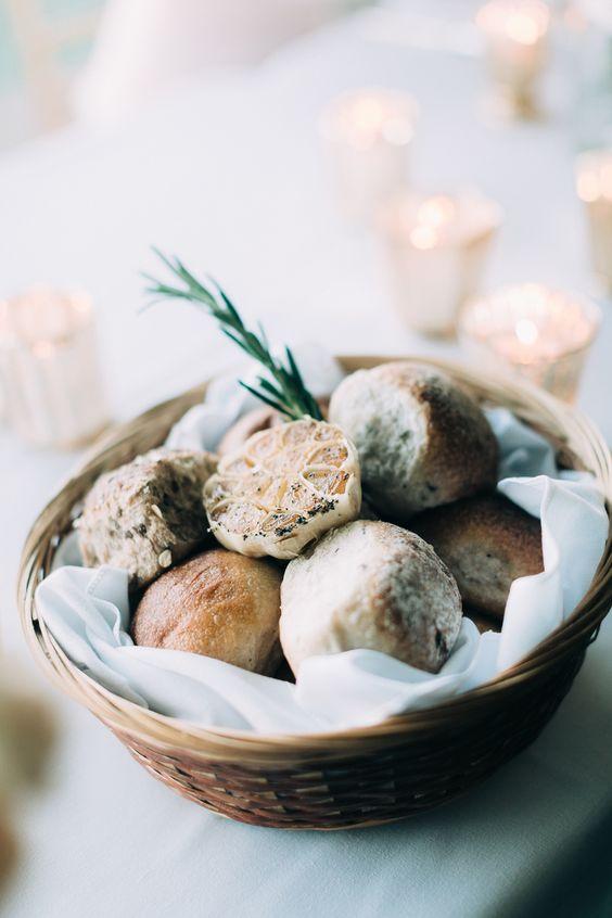 wicker basket of bread on table