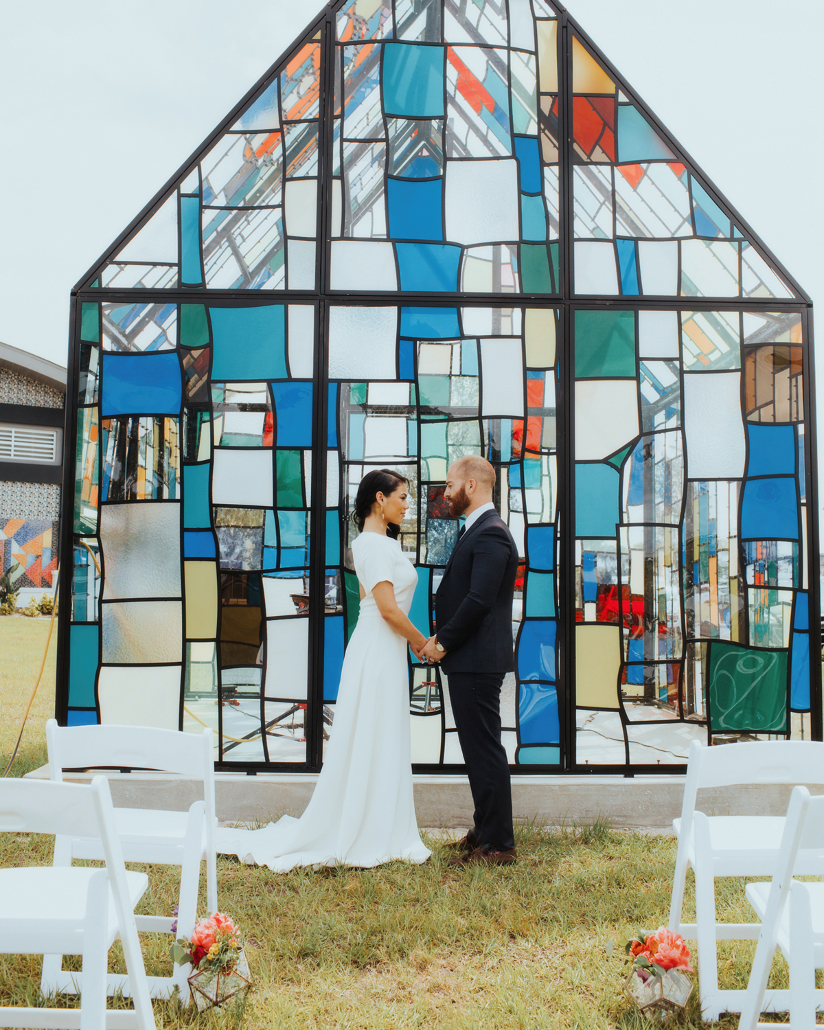 Stained Glass House-shaped wedding ceremony backdrop