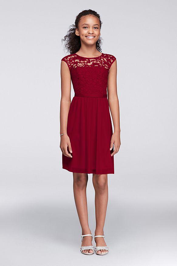 David's Bridal Cap-Sleeve Lace and Mesh Dress