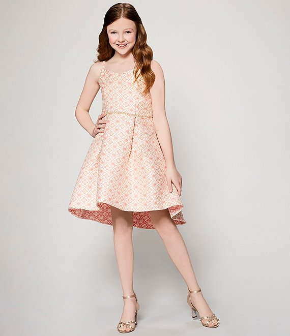 Belle Badgley Mischka Metallic Jacquard Dress
