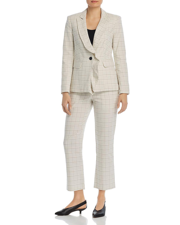 Grid-Print Ruffled Blazer Cropped Grid-Print Pants