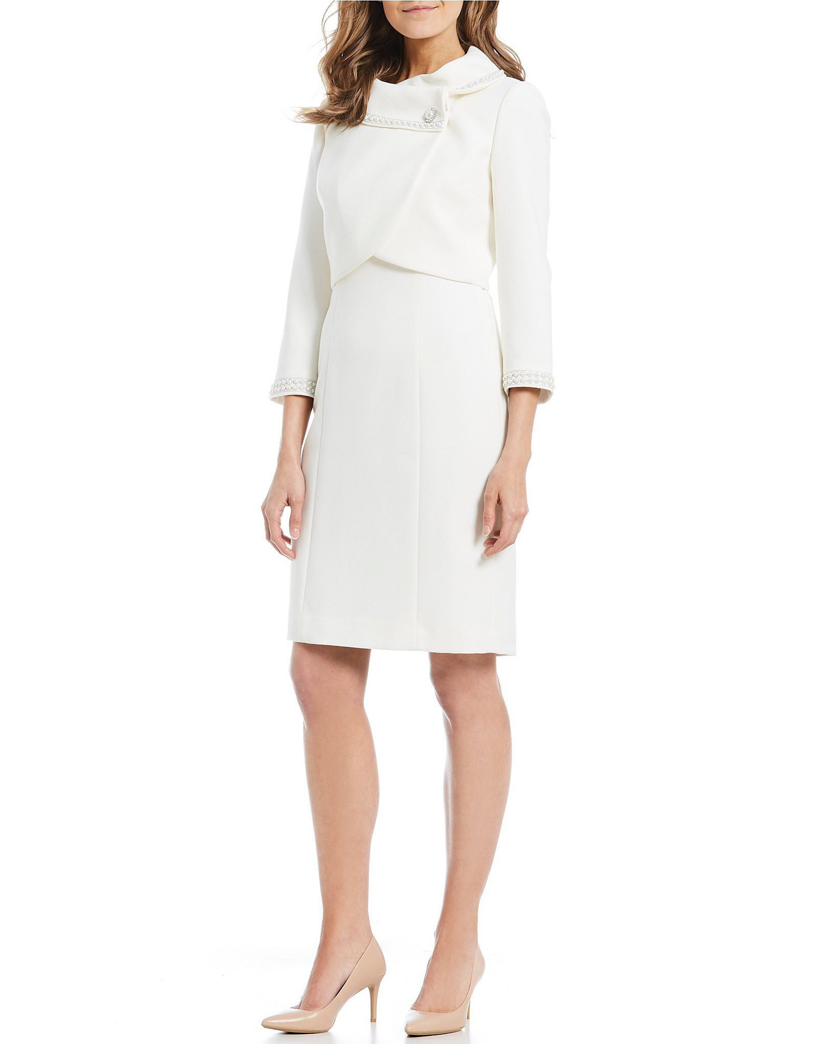 Pearl-Trim Jacket Dress Suit