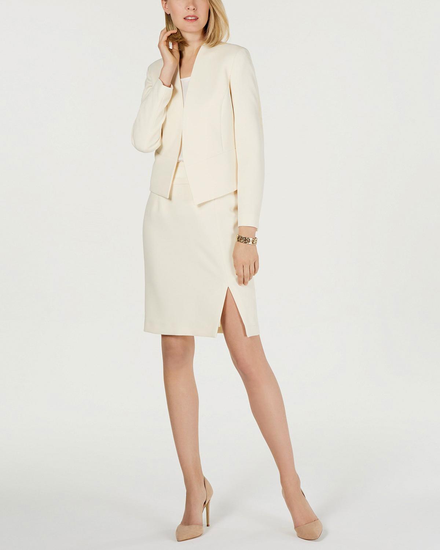 Crepe Flyaway Jacket Slit Skirt