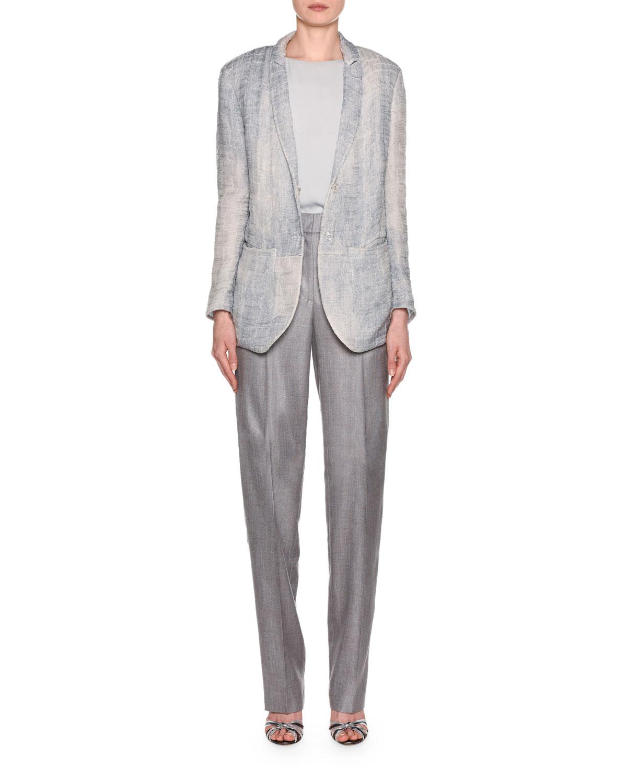 Giorgio Armani Gauze Jacquard Blazer Zip-Front Classic Pants