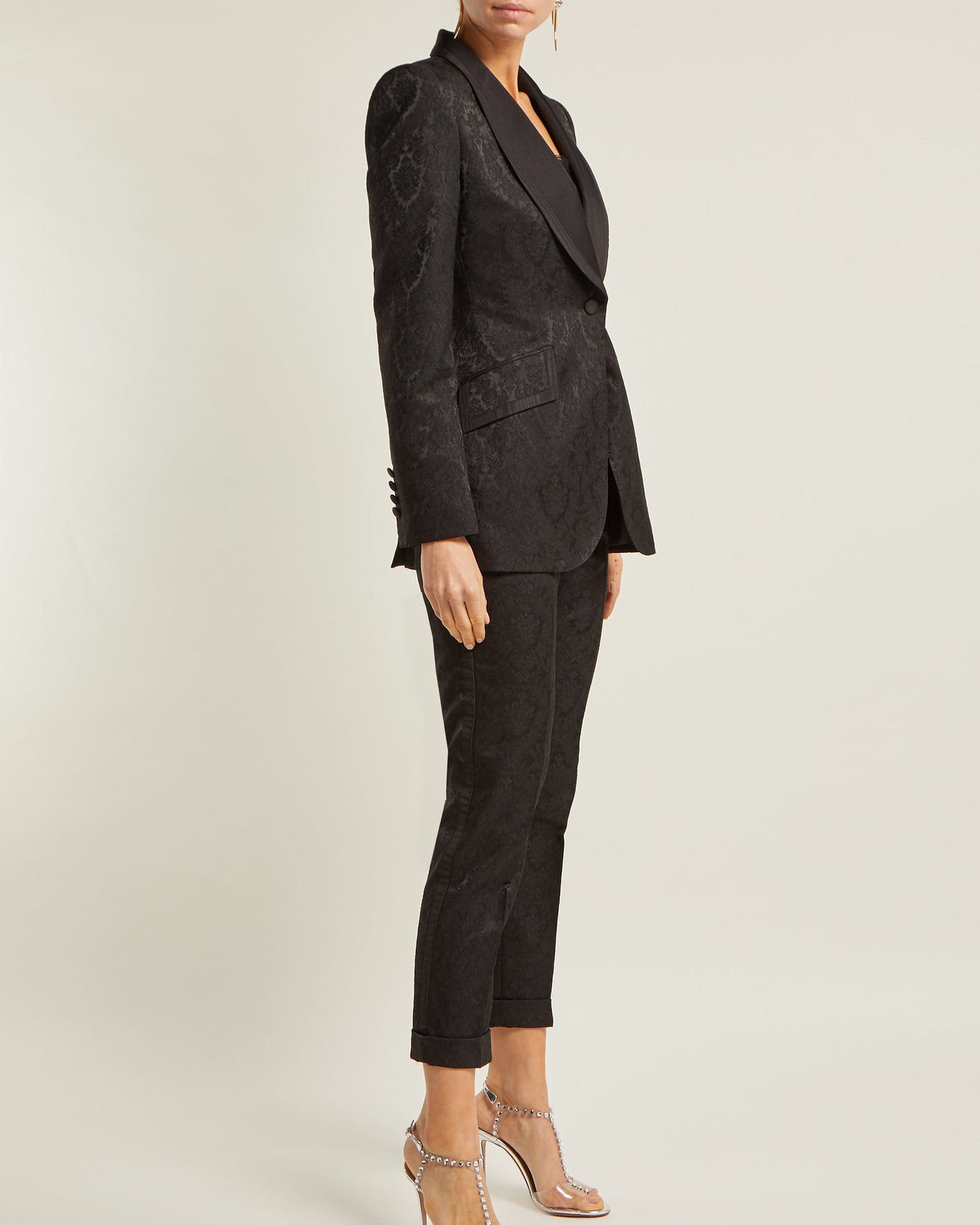 Black Floral-Jacquard Blazer and Trousers