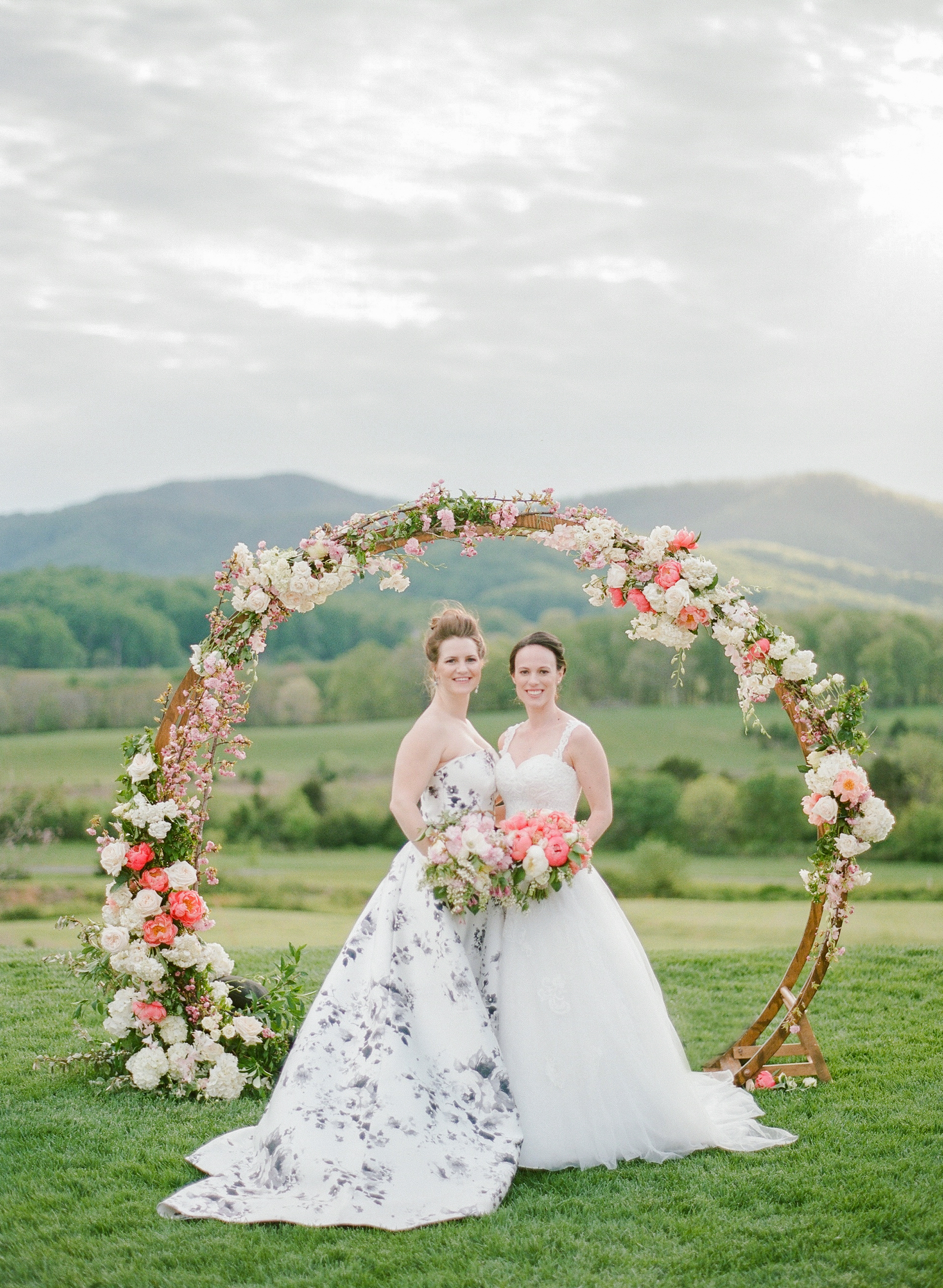 These Brides' Cherry Blossom-Inspired Wedding Unfolded in a Virginia Vineyard