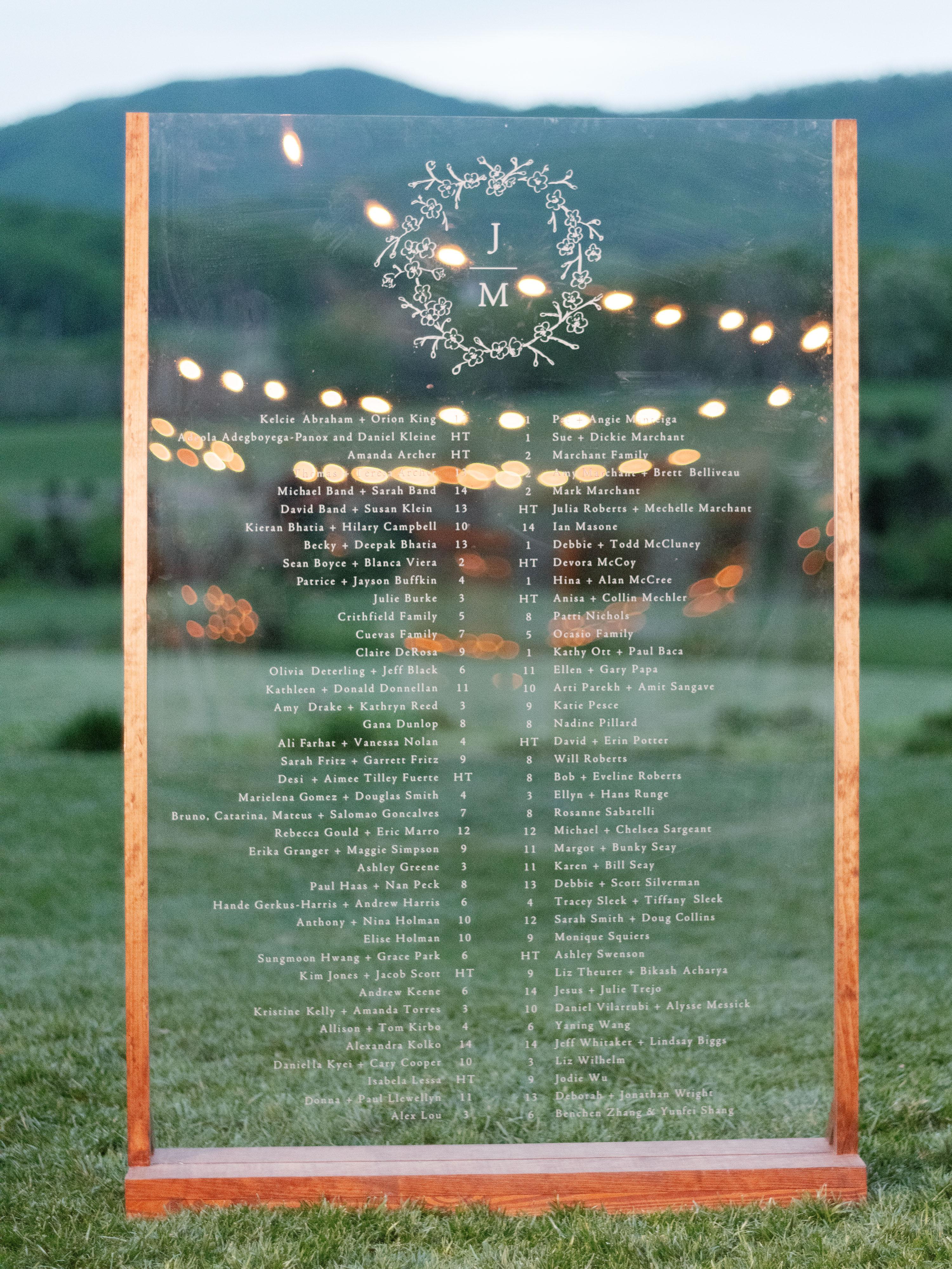 mechelle julia wedding seating chart