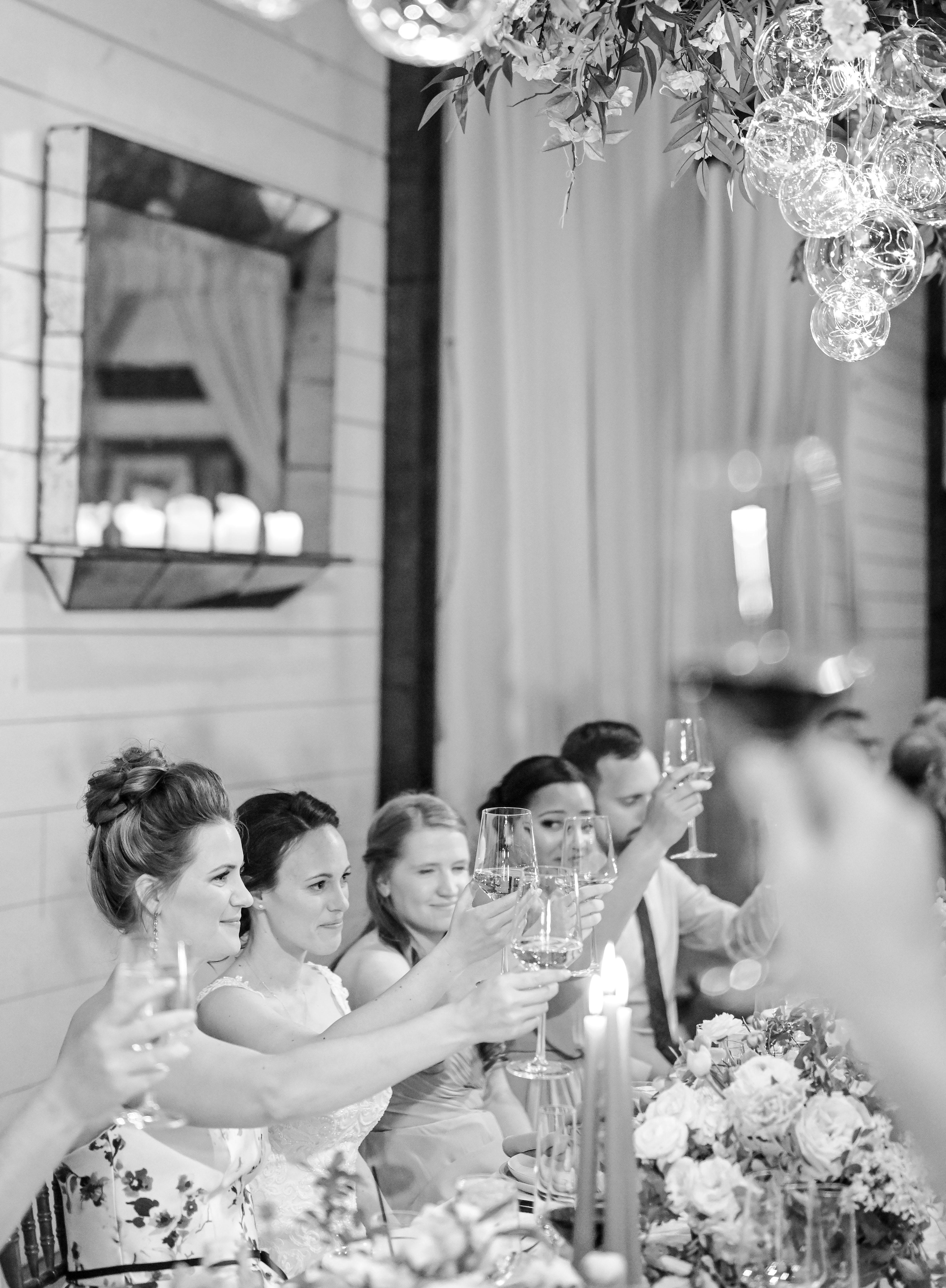 mechelle julia wedding black and white toast glasses